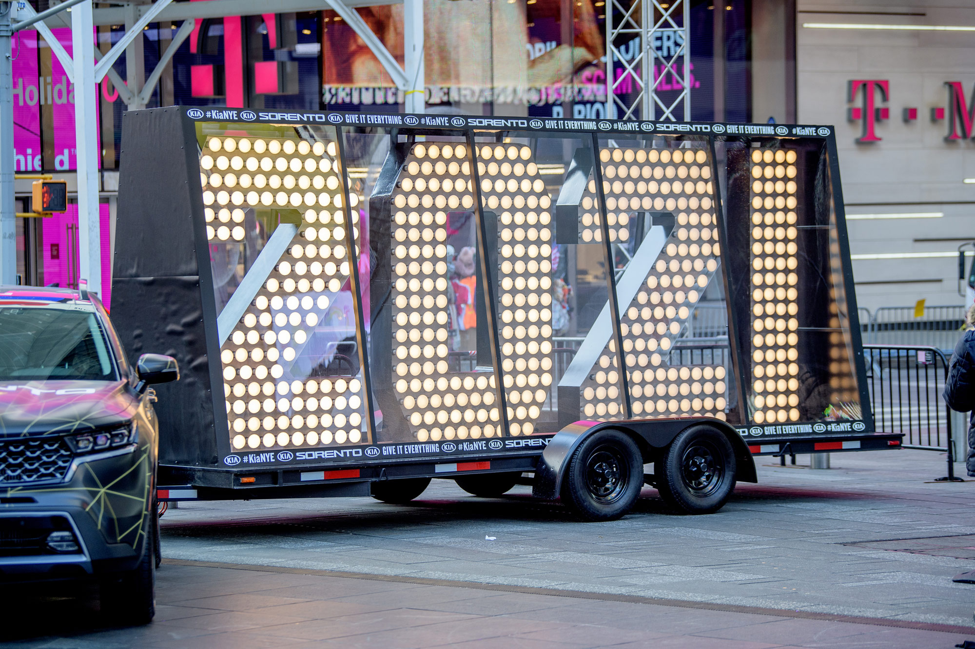 A 2021 sign is seen in Times Square on December 23 in New York City.