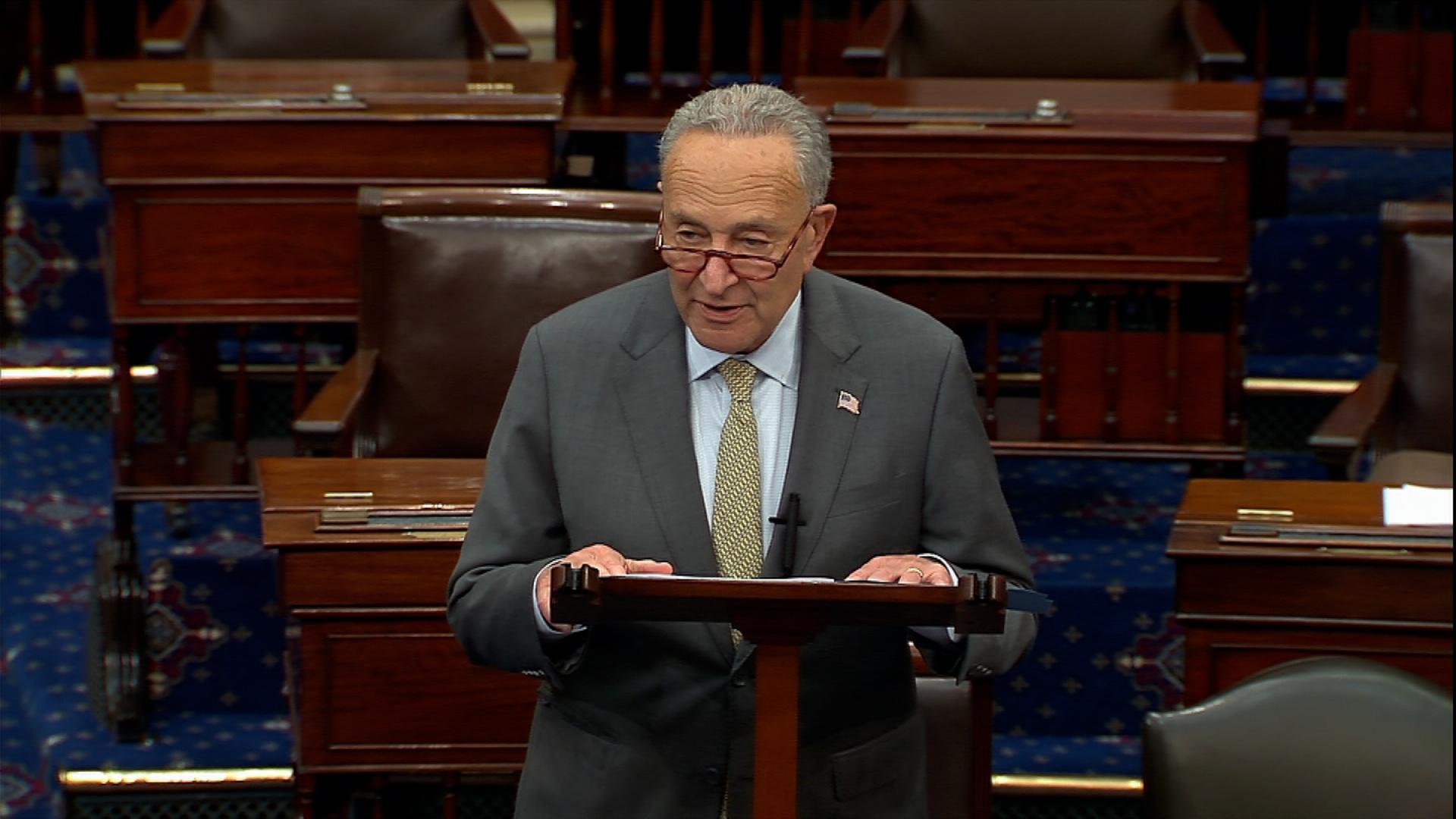 Senate Majority Leader Chuck Schumer speaks on the Senate floor in Washington, DC, on September 30.
