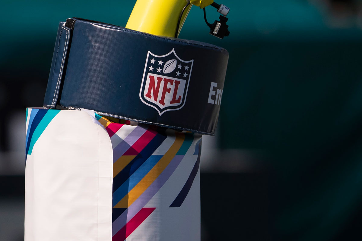 A detailed view of the NFL logo on a goal post at Lincoln Financial Field, Pennsylvania on October 18.