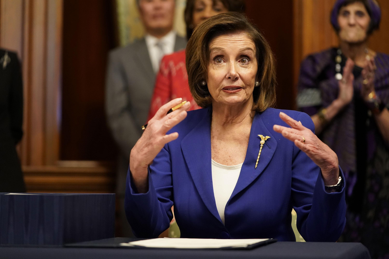 House Speaker Nancy Pelosi speaks to the press on March 27.