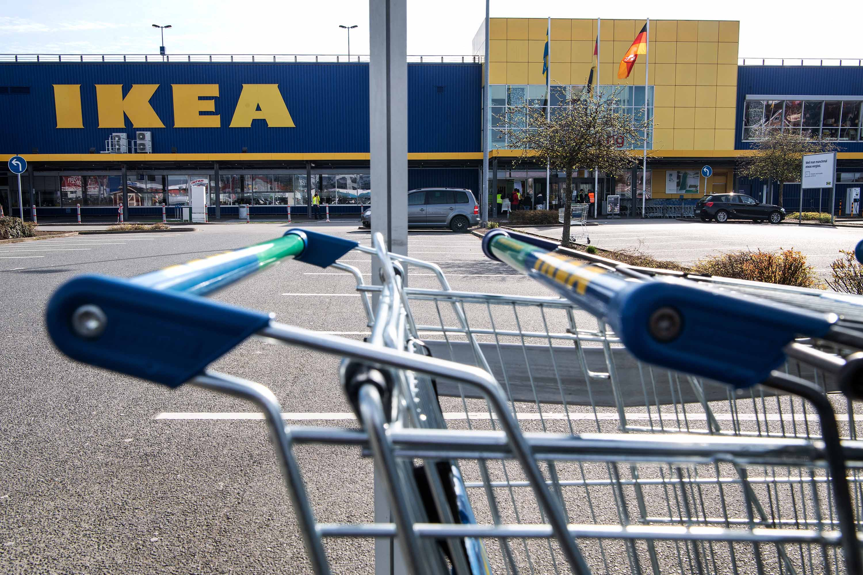 A view of a parking lot at a closed IKEA in Stuhr, Germany, on Tuesday.