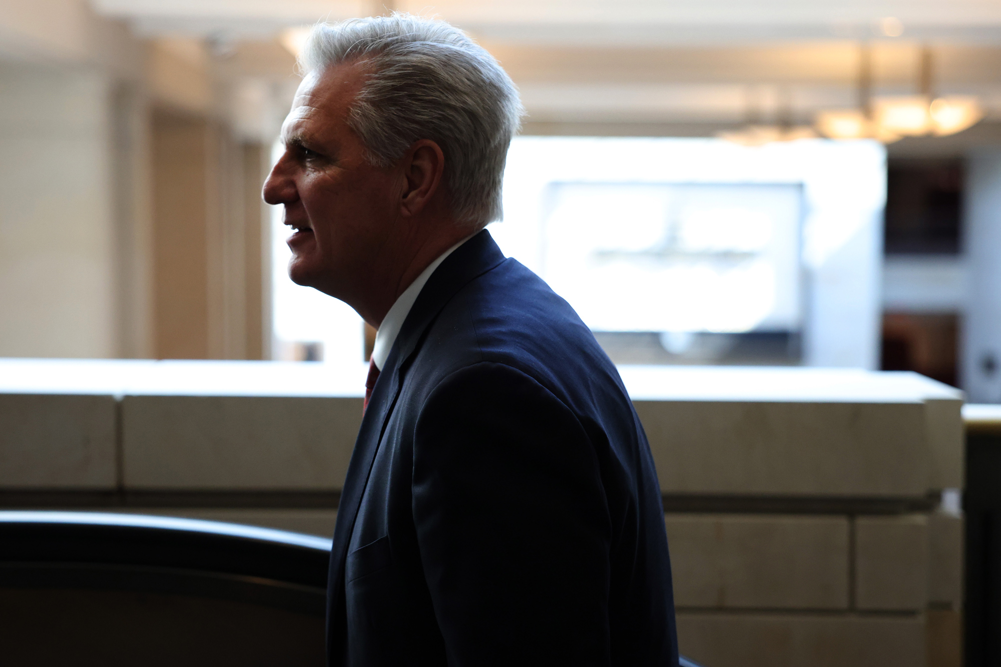 House Minority Leader Kevin McCarthy takes an escalator in the U.S. Capitol Visitors Center on May 14 in Washington, DC.