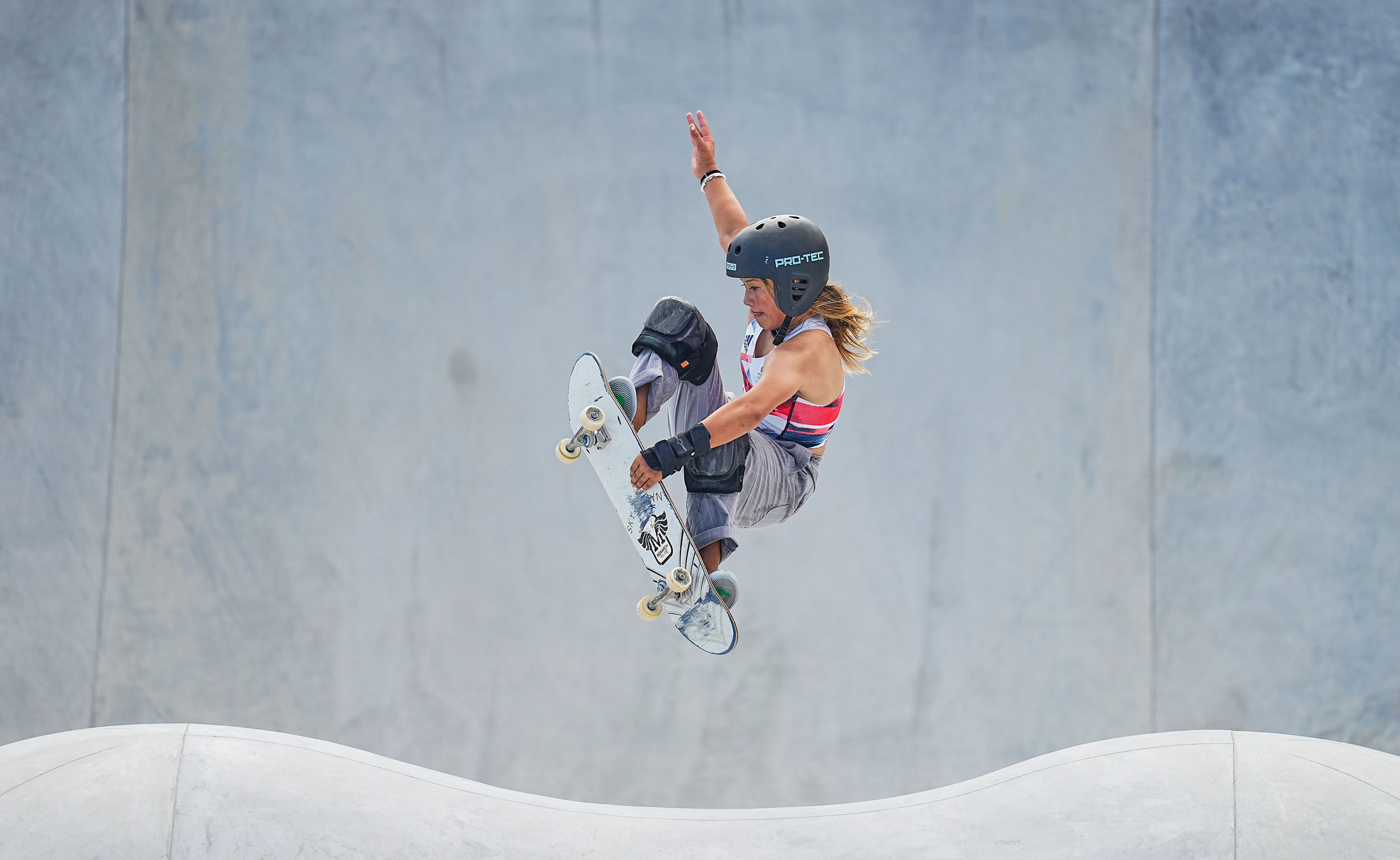 Sky Brown of Great Britain competes during park skateboarding event on August 4.