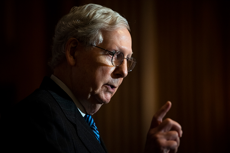McConnell speaks during a news conference with other Senate Republicans on Capitol Hill in Washington, D.C., on Tuesday, December 15.