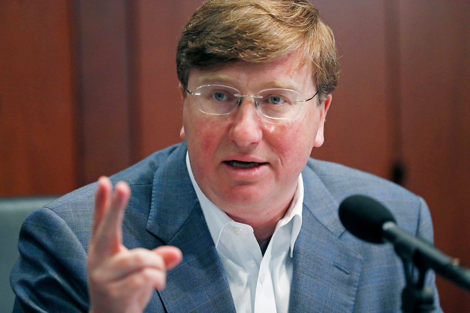 Mississippi Gov. Tate Reeves pictured during his afternoon news conference in Jackson, Miss., on April 21.
