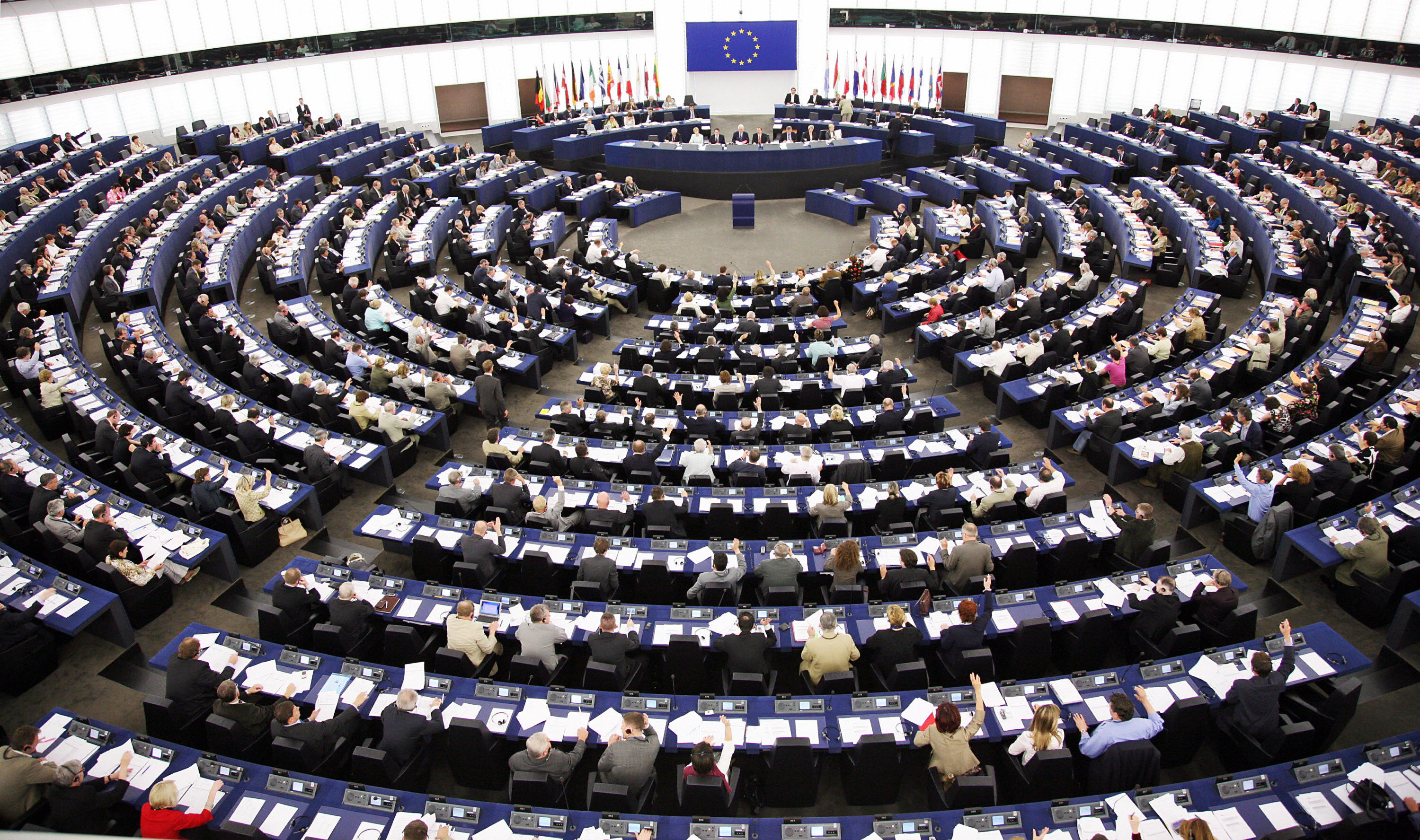 European Deputies vote during the plenary session, at the European Parliament's Hemicycle 24 May 2007 in Strasbourg.