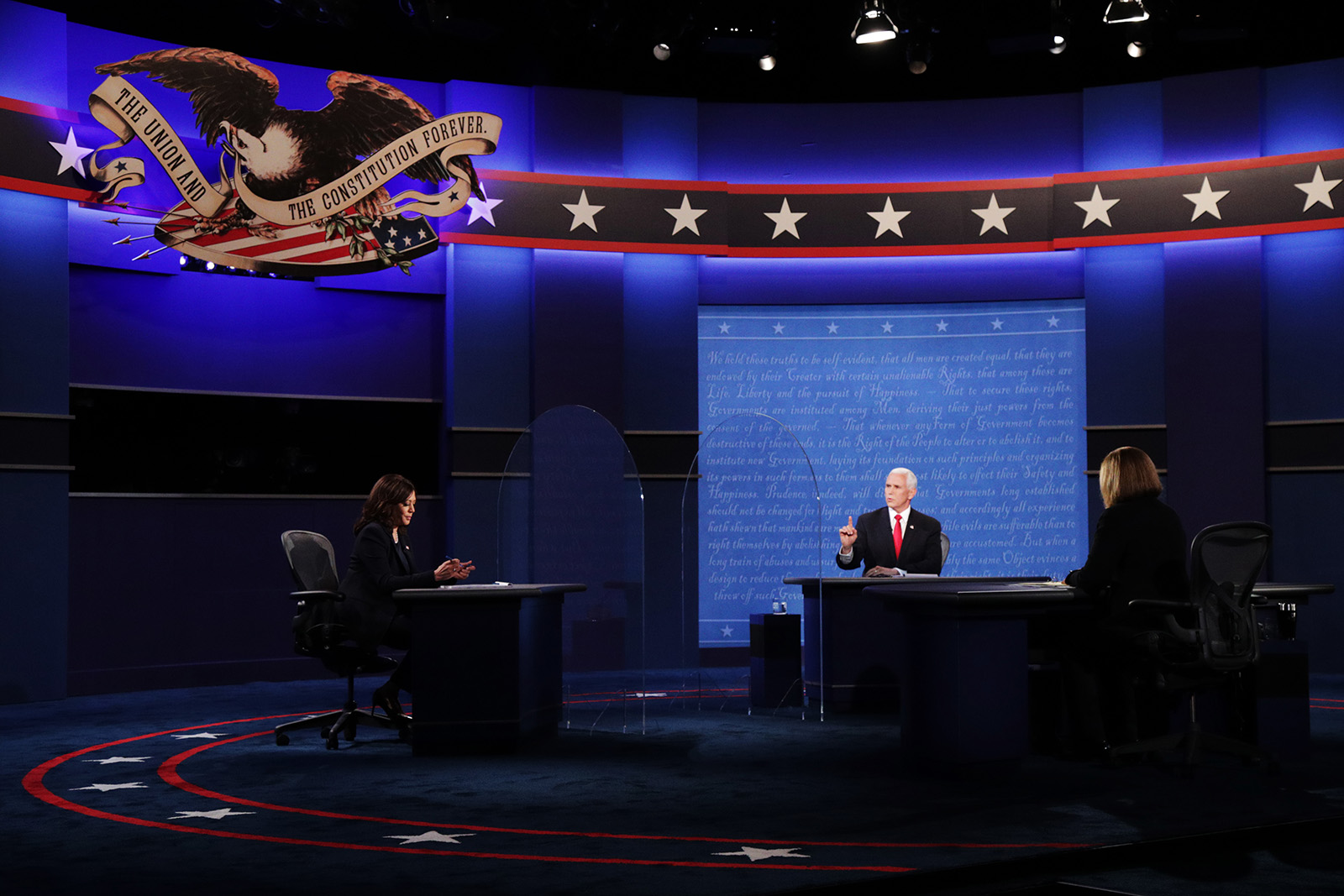 Democratic vice presidential nominee Sen. Kamala Harris and Vice President Mike Pence participate in the vice presidential debate moderated by Washington Bureau Chief for USA Today Susan Page in Salt Lake City on October 7.