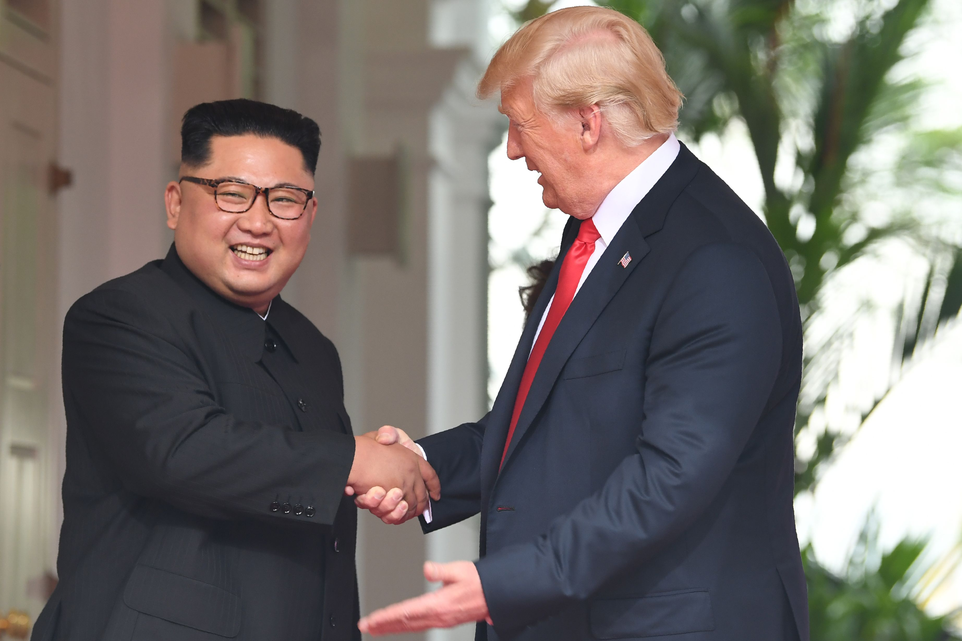 US President Donald Trump and North Korean leader Kim Jong Un in Singapore on June 12, 2018.