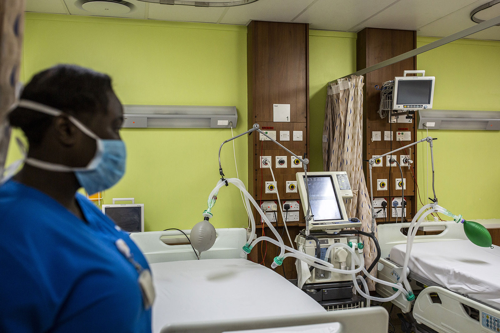 A mechanical ventilator sits by a bed at the Aga Khan University Hospital in Nairobi, Kenya, on Thursday, April 9.