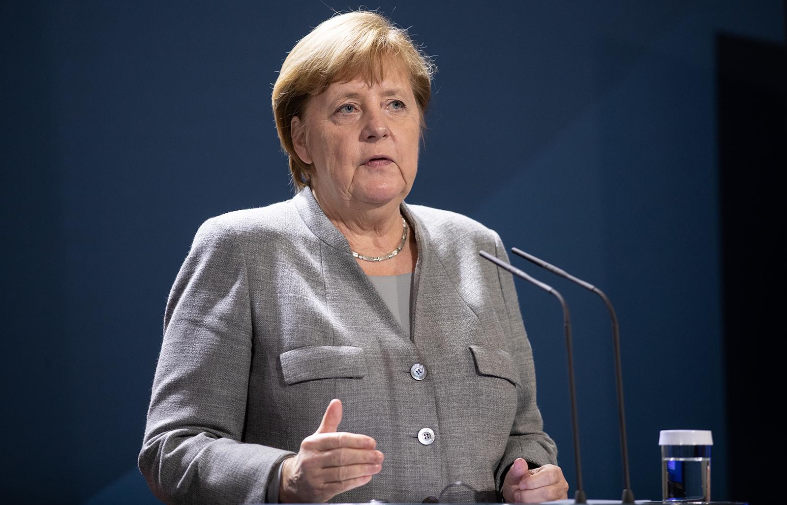 German Chancellor Angela Merkel speaks to the media in Berlin, on November 10.