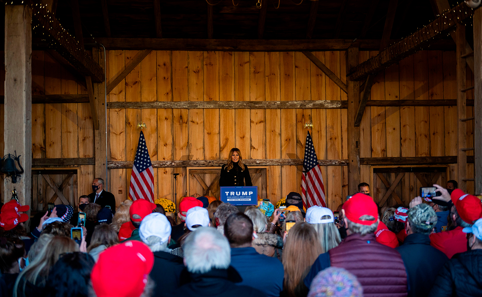US First Lady Melania Trump speaks during a campaign rally at Kingsheart Farm in West Bend, Wisconsin on October 31.