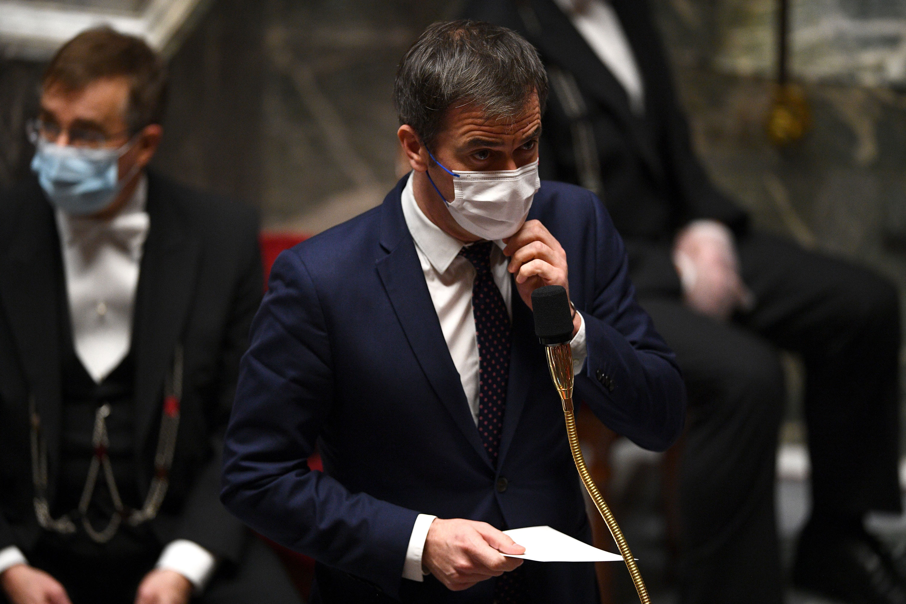 French Health Minister Olivier Veran speaks during a session of questions to the government at the National Assembly in Paris on January 12.