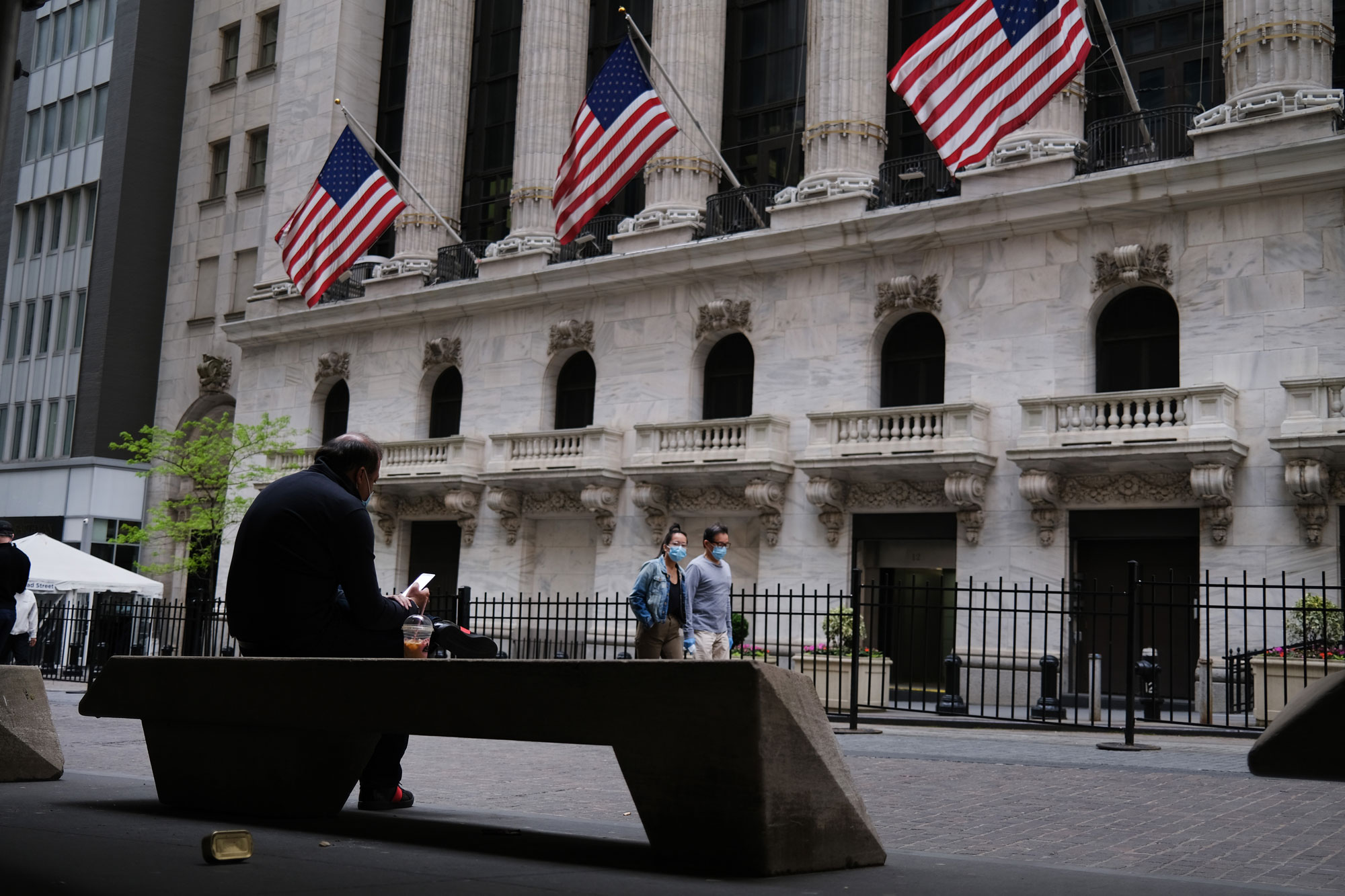 The New York Stock Exchange stands in lower Manhattan on May 18 in New York City.
