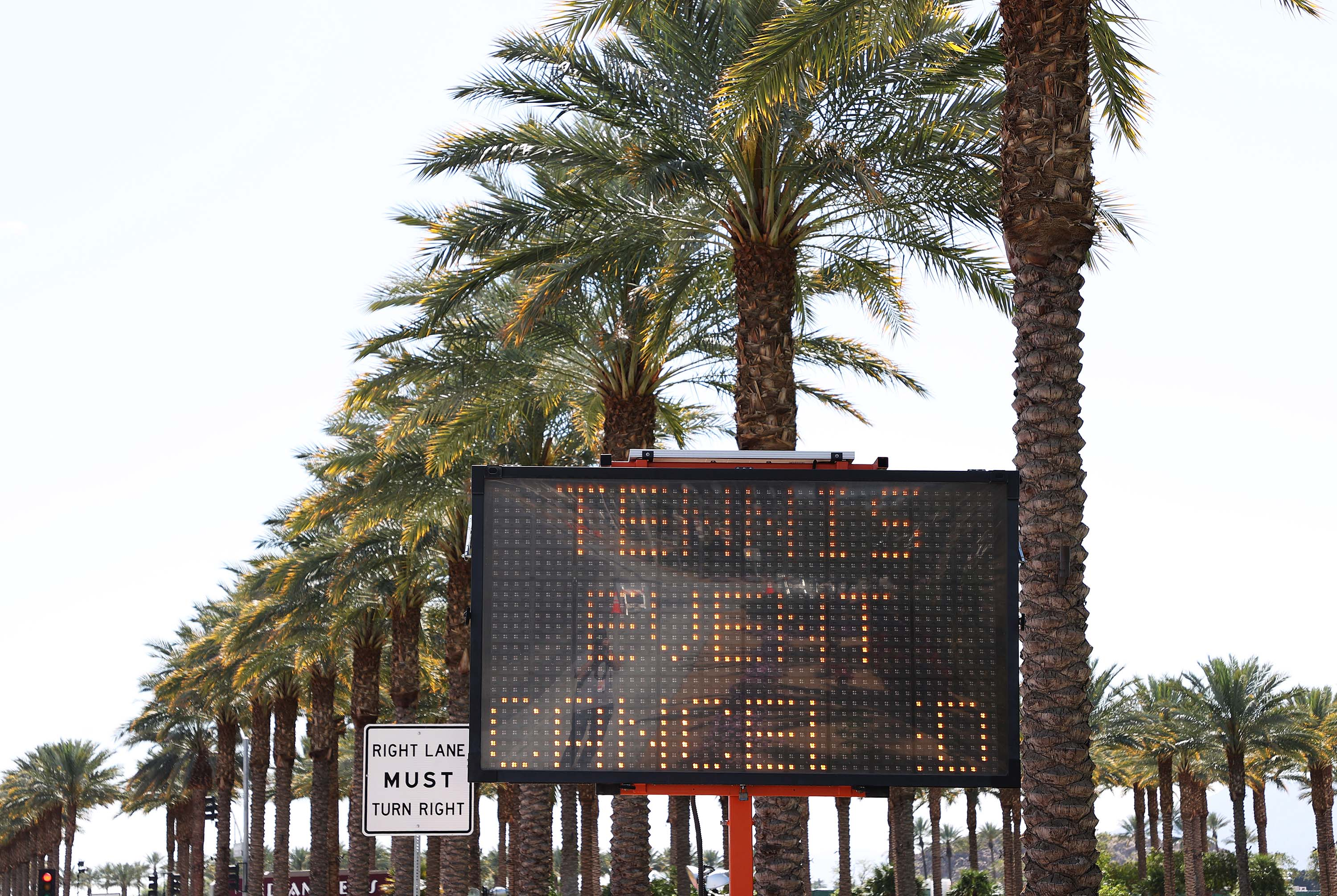 A sign flashes outside the Indian Wells Tennis Garden on March 9, in Indian Wells, California. The BNP Paribas Open was cancelled by the Riverside County Public Health Department, as county officials declared a public health emergency when a case of coronavirus was confirmed in the area.