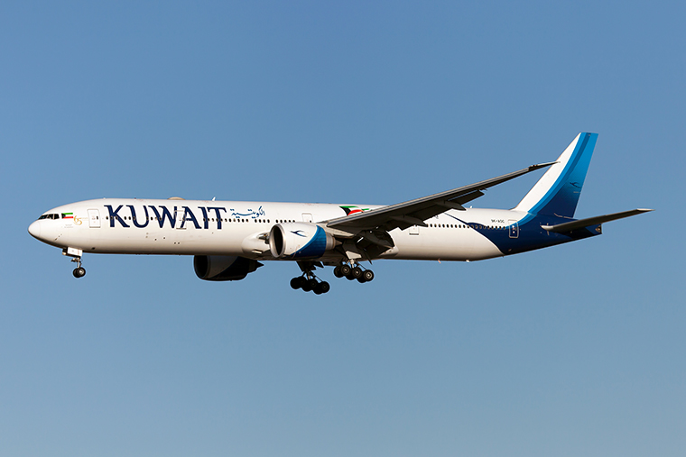 A Kuwait Airways Boeing 777-300ER lands at London Heathrow airport on January 19.