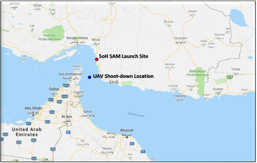 The Defense Department provided a map of the location where a US drone was shot down by Iran on Thursday, and the location where the missile was launched.