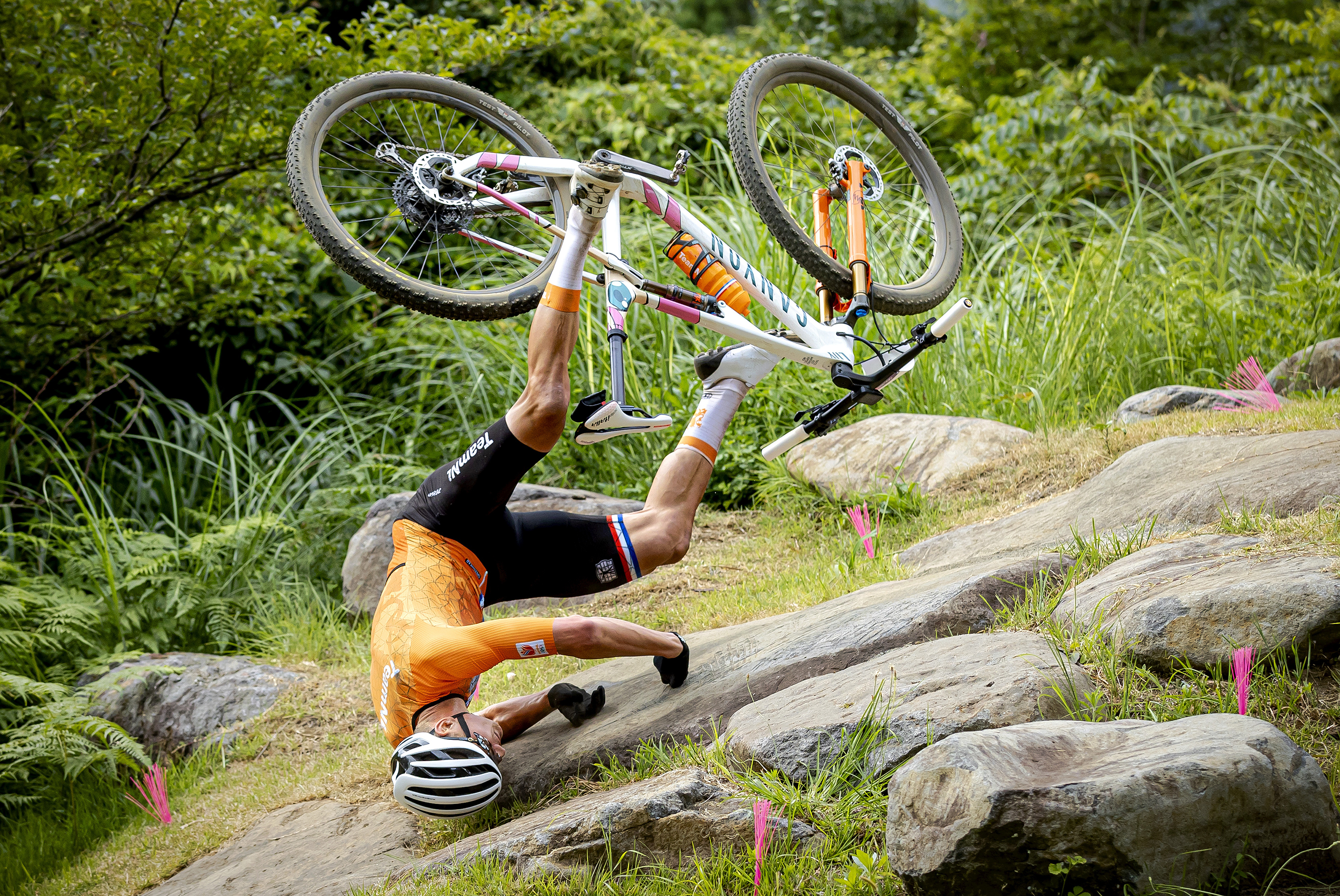 Mathieu van der Poel falls during the cross country mountain bike competition on Tuesday.