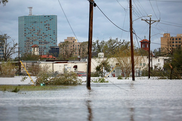 Floodwaters at a neighborhood near downtown Lake Charles, Louisiana,  on Thursday, August 27.