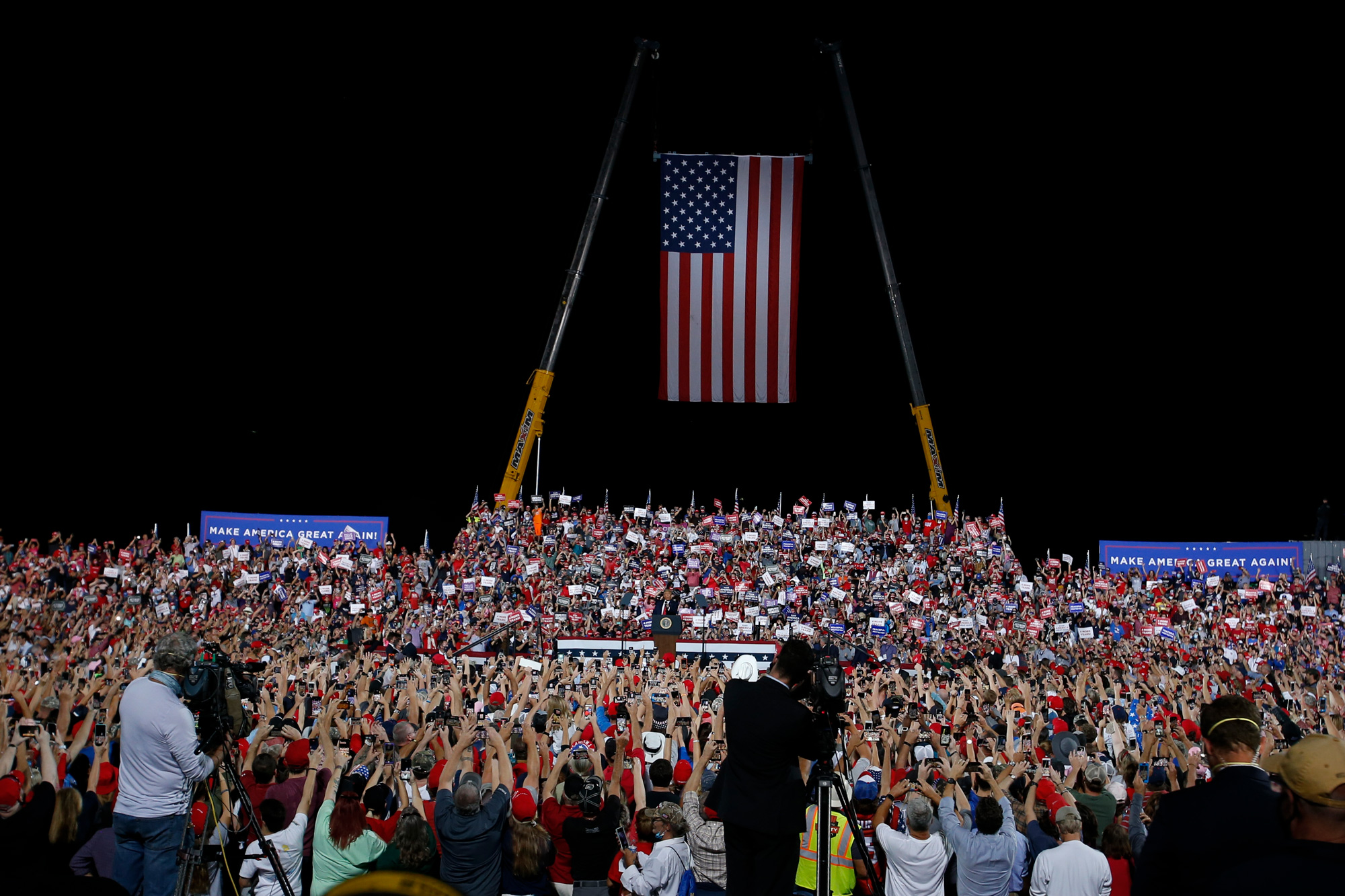 President Donald Trump speaks at a campaign rally at Gastonia Municipal Airport in Gastonia, North Carolina, on October 21.