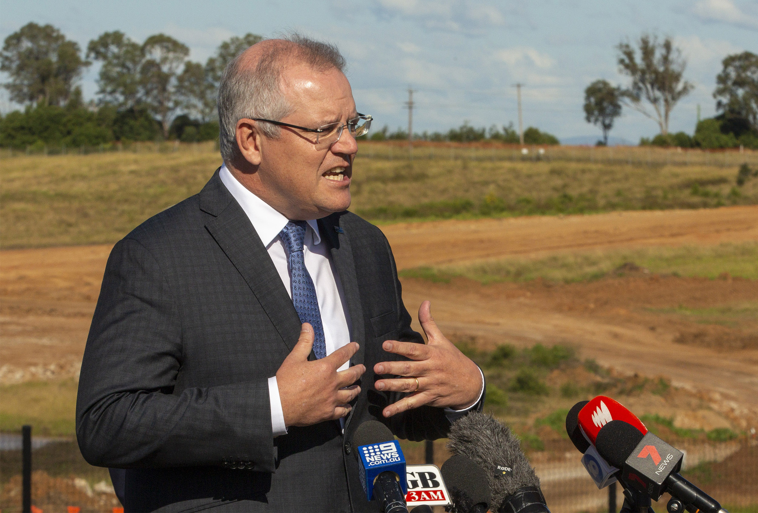 Australian Prime Minister Scott Morrison talks during a press conference at the Western Sydney International Airport Experience Centre in Sydney, Australia, on June 1.