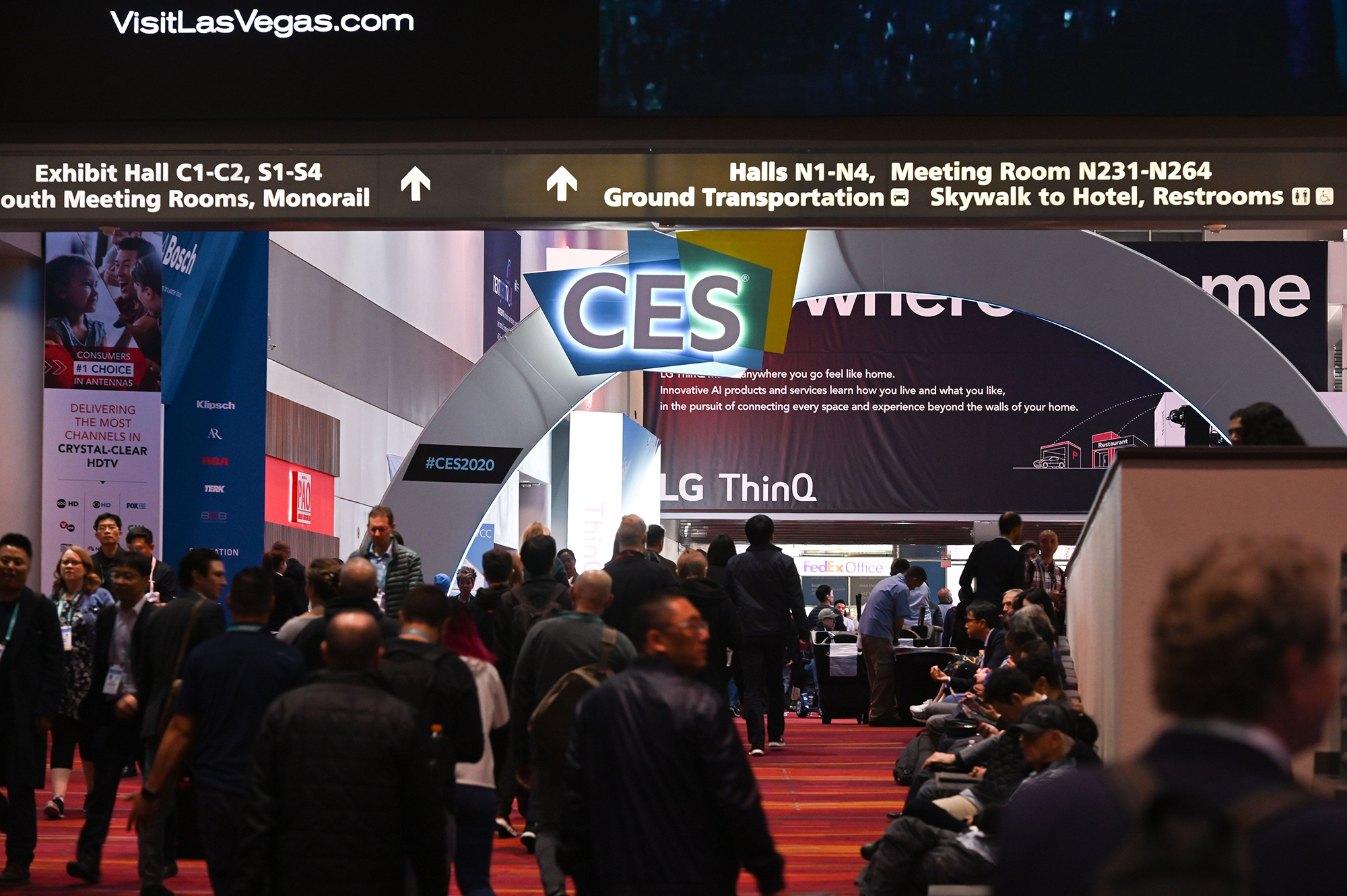 Attendees walk through the Las Vegas Convention Center January 10, 2020 on the final day of the 2020 Consumer Electronics Show (CES) in Las Vegas, Nevada.