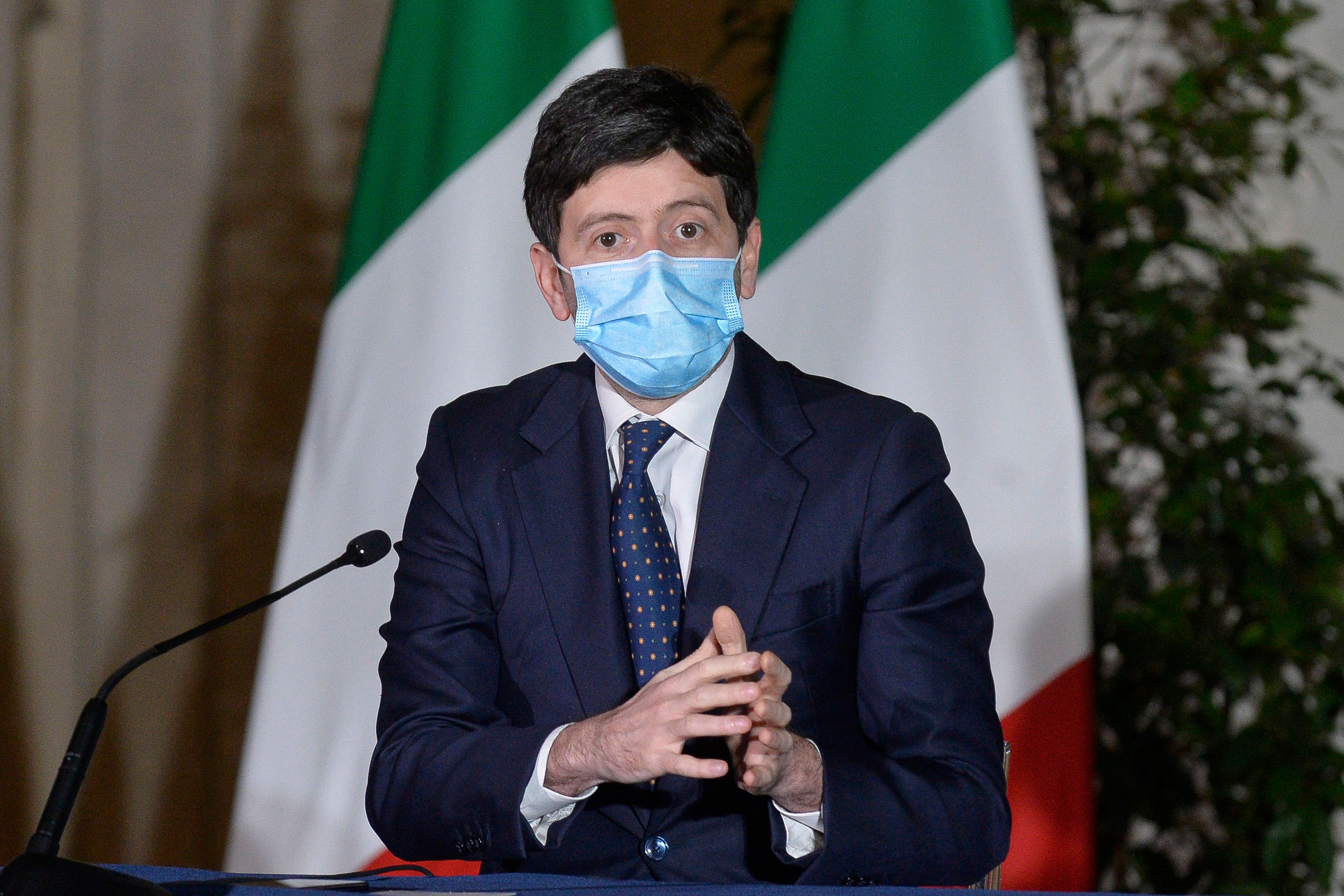 Italy's Health Minister Roberto Speranza speaks at a press conference in Rome on March 2.