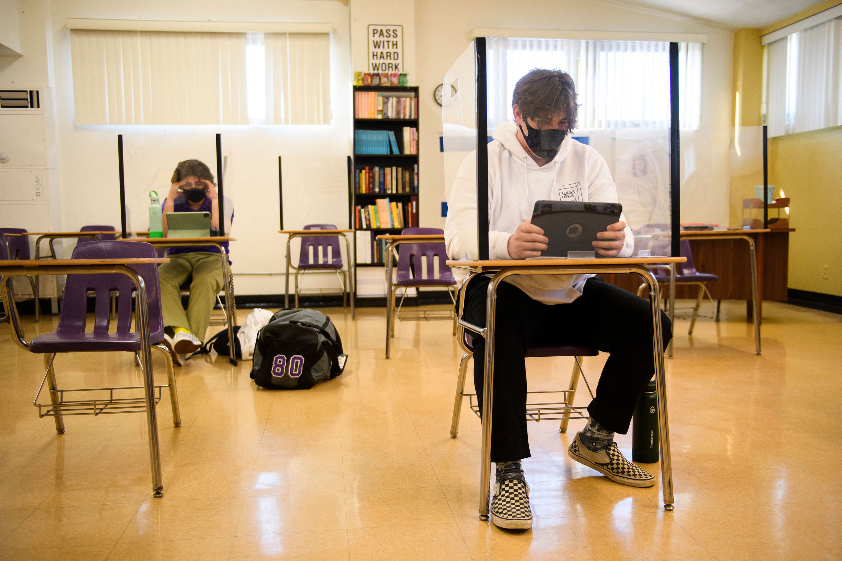 Students wear masks as they return to in-person learning on March 24, in Long Beach, California.