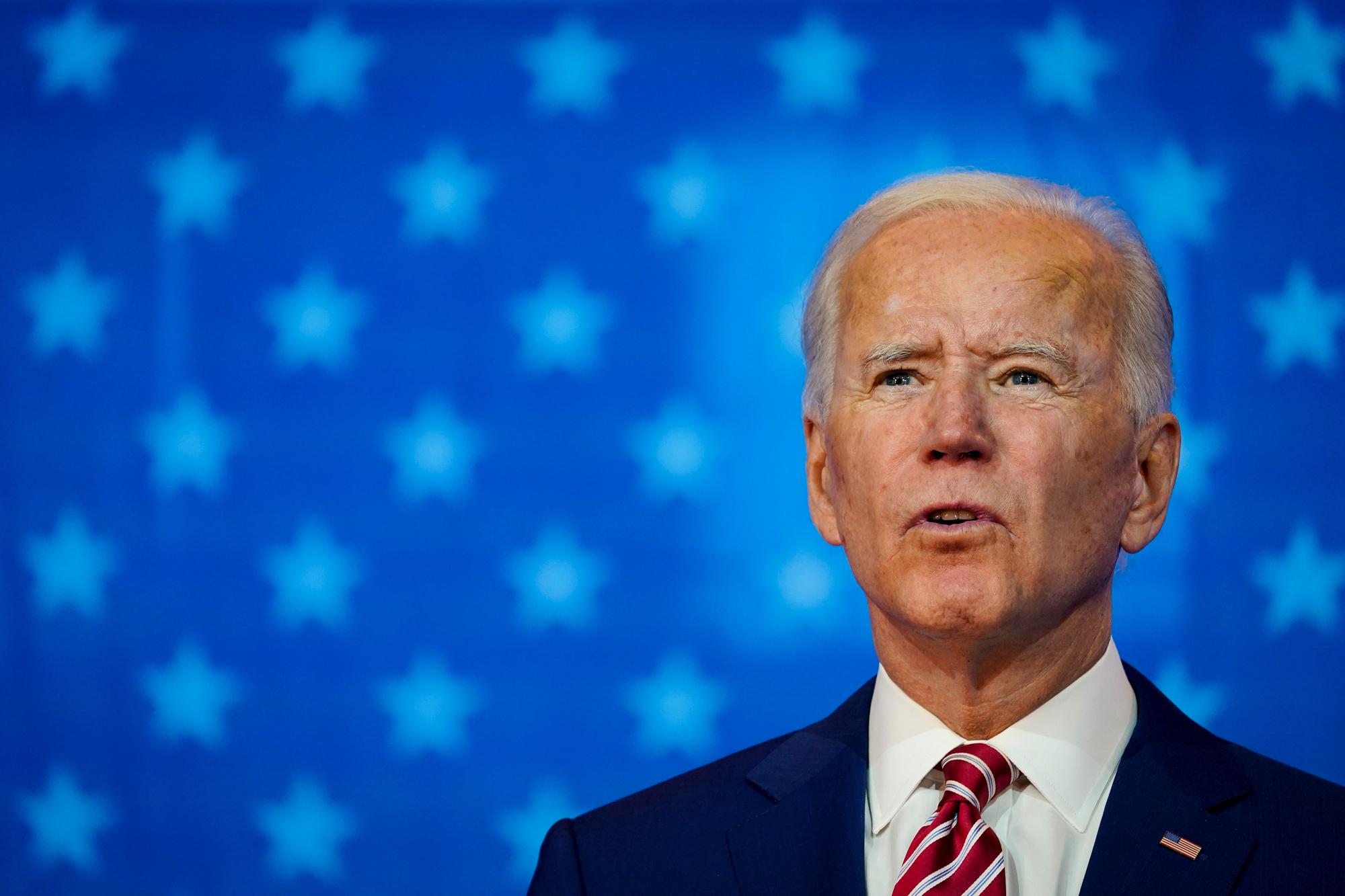 Democratic presidential nominee Joe Biden speaks at The Queen theater on October 23 in Wilmington, Delaware.