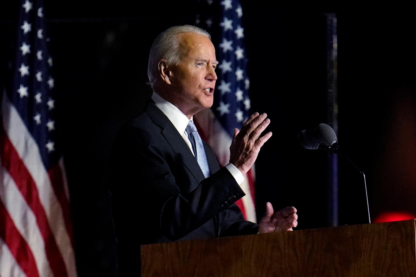 President-elect Joe Biden speaks in Wilmington, Delaware, on November 7.