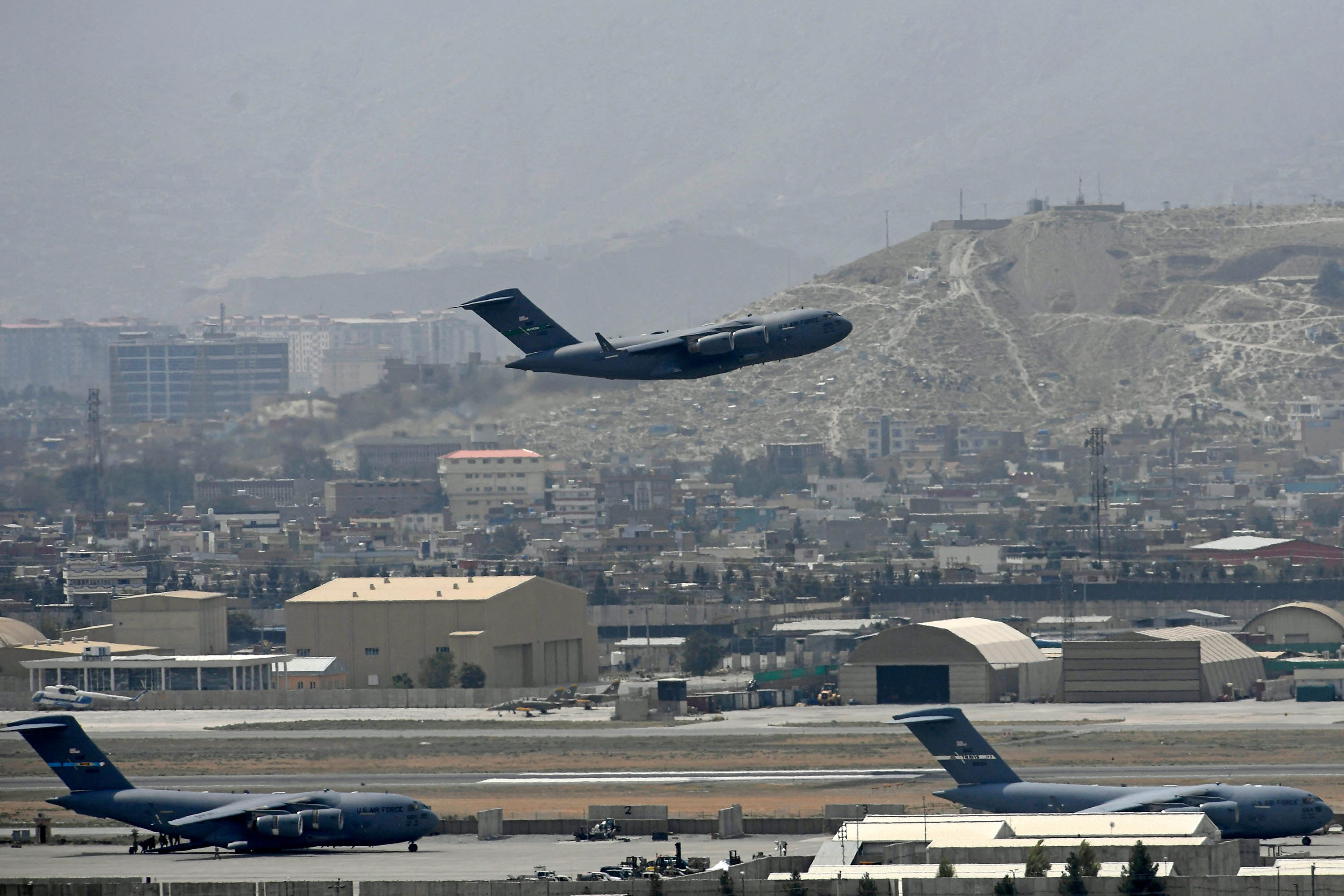 An US Air Force aircraft takes off from the airport in Kabul on August 30.