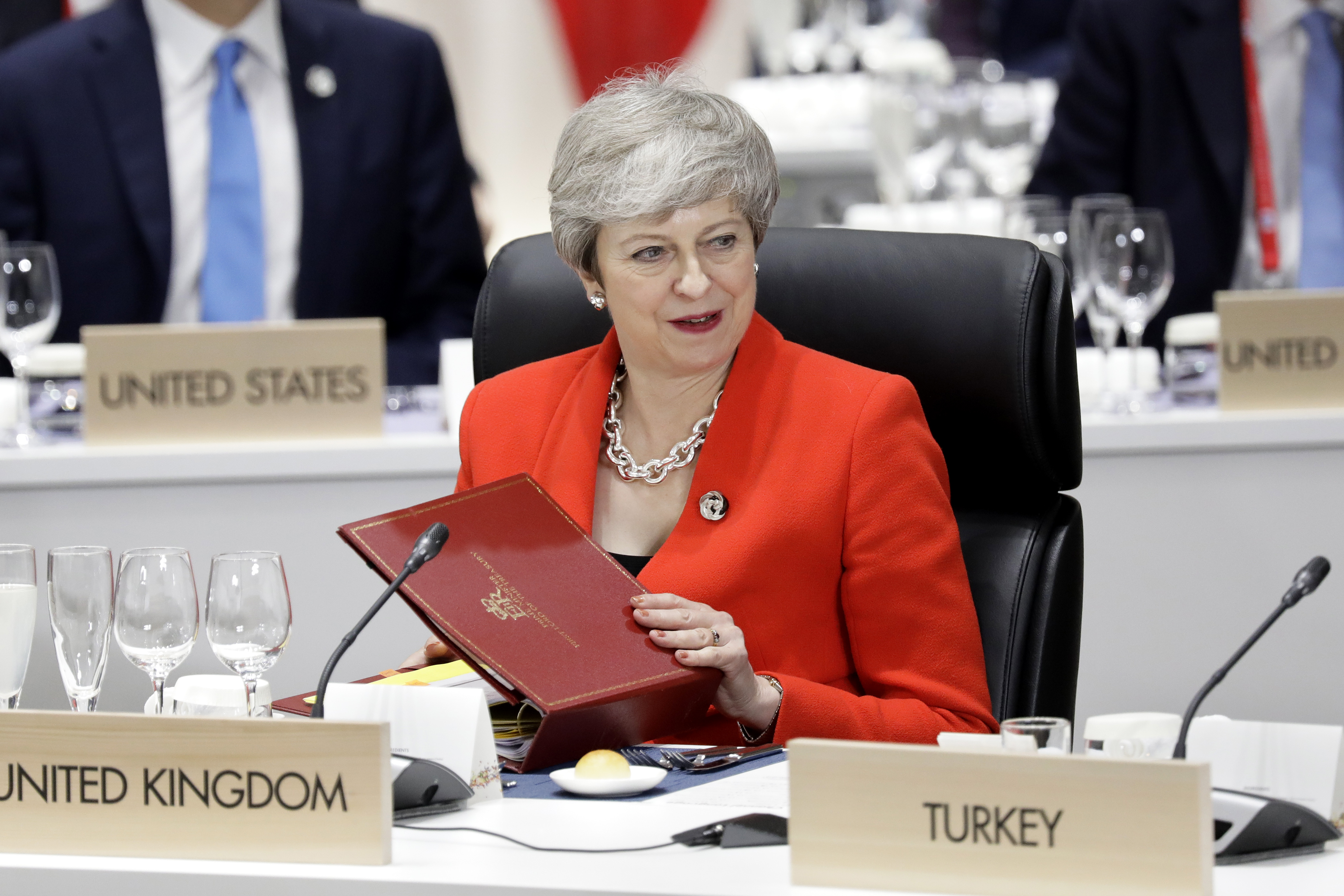Britain's Prime Minister Theresa May attends a working lunch at the G20 summit in Osaka on June 28.
