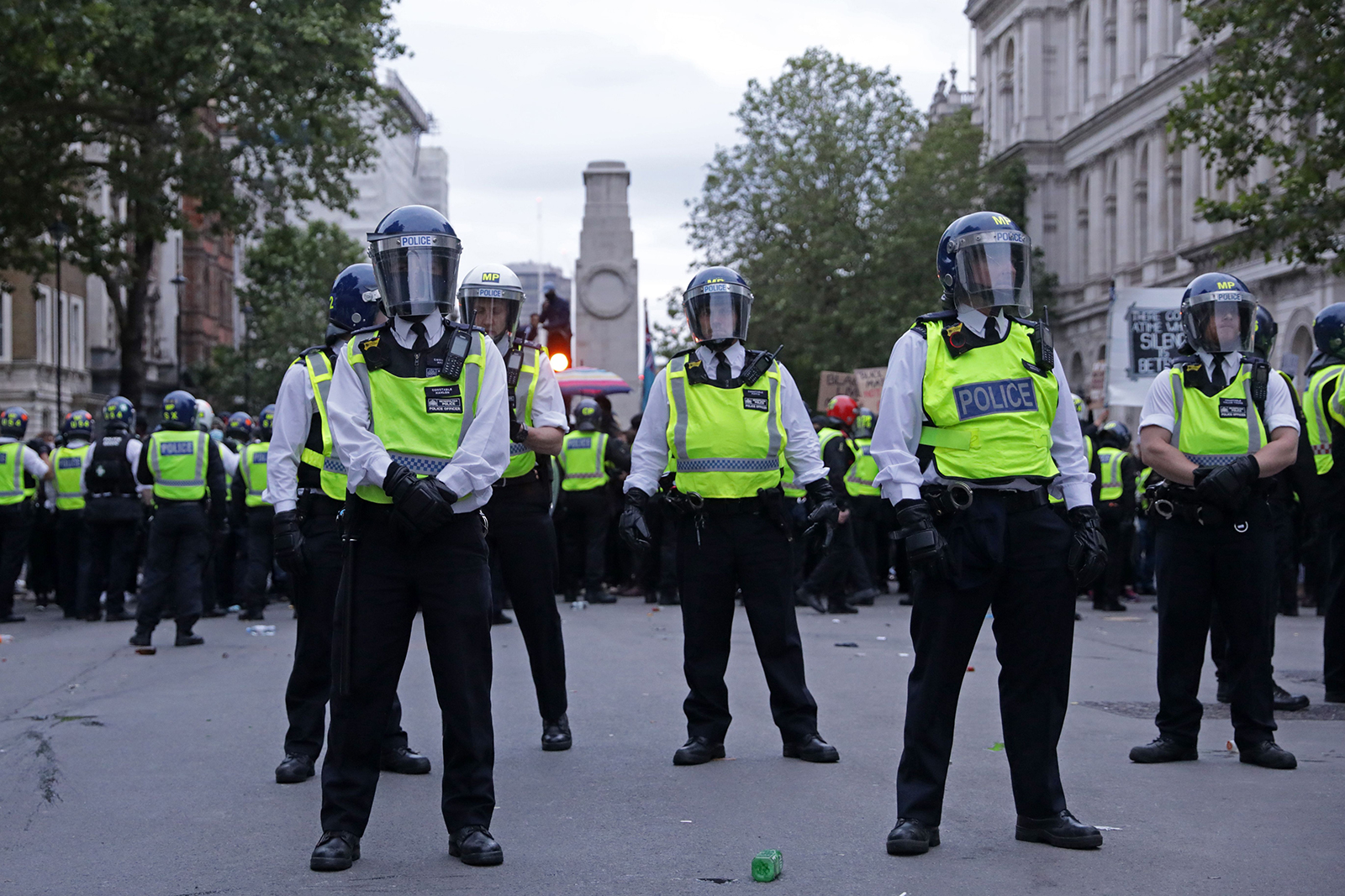 Lines of police officers block off Whitehall in central London after a demonstration, on Sunday, June 7.