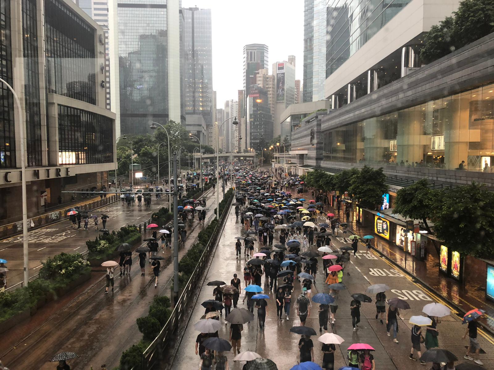 Some protesters are marching through Amdiralty, the city's financial center.