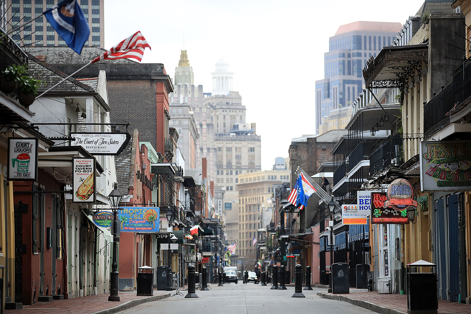 A view of an empty Bourbon Street in New Orleans on March 27.