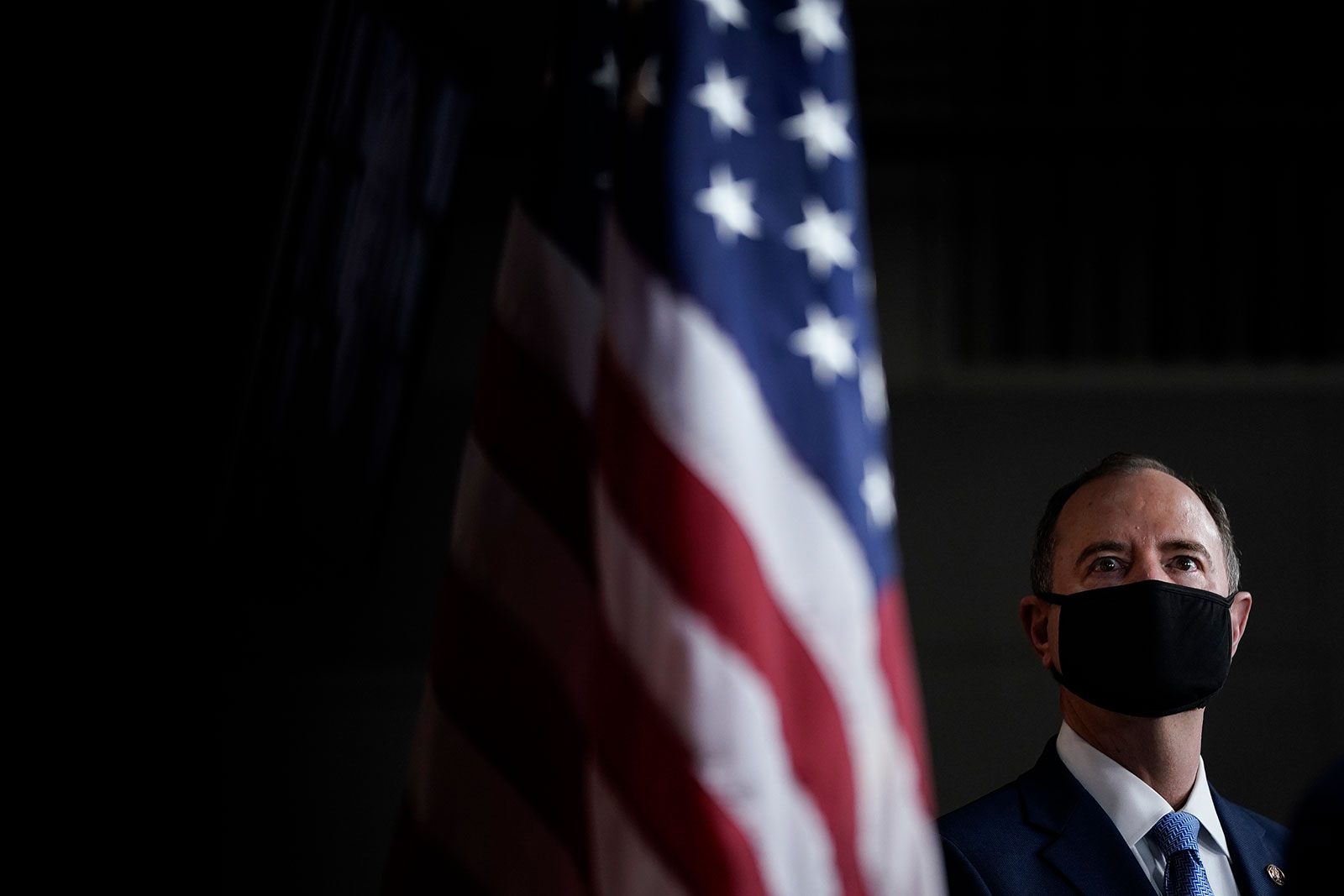 Rep. Adam Schiff attends a news conference in Washington, DC, on September 23.