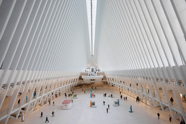 The Oculus at the World Trade Center's transportation hub is sparsely occupied, Monday, March 16 in New York.