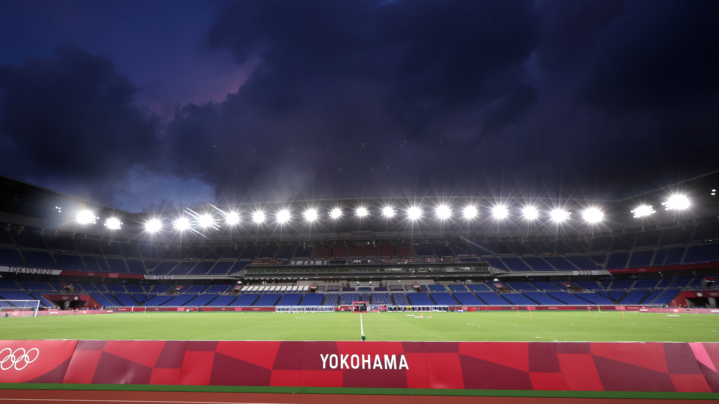 The International Stadium Yokohama, where the women's gold medal match will now take place, is seen on August 2.