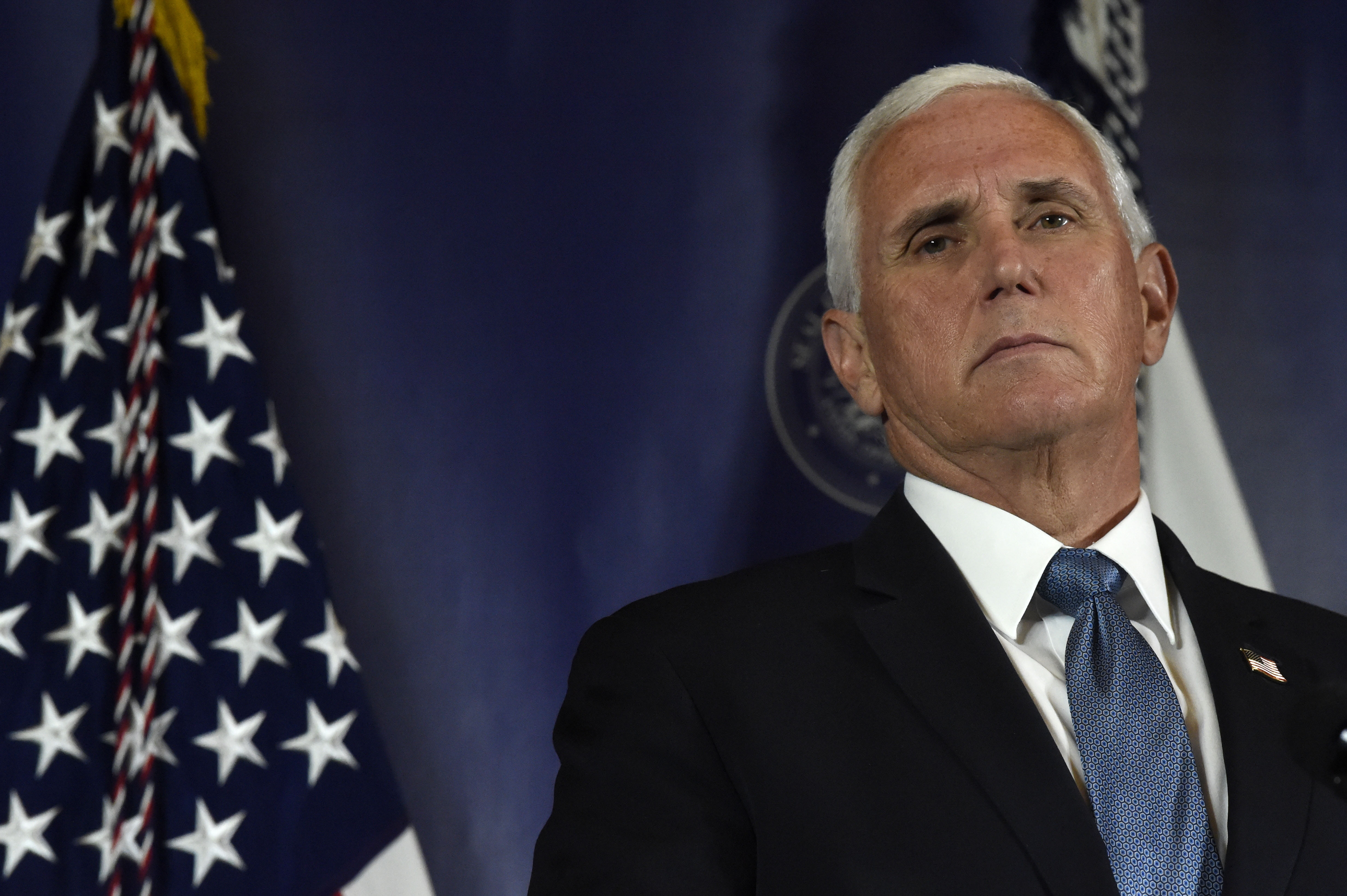 Vice President Mike Pence attends a briefing on July 21 in Columbia, South Carolina.