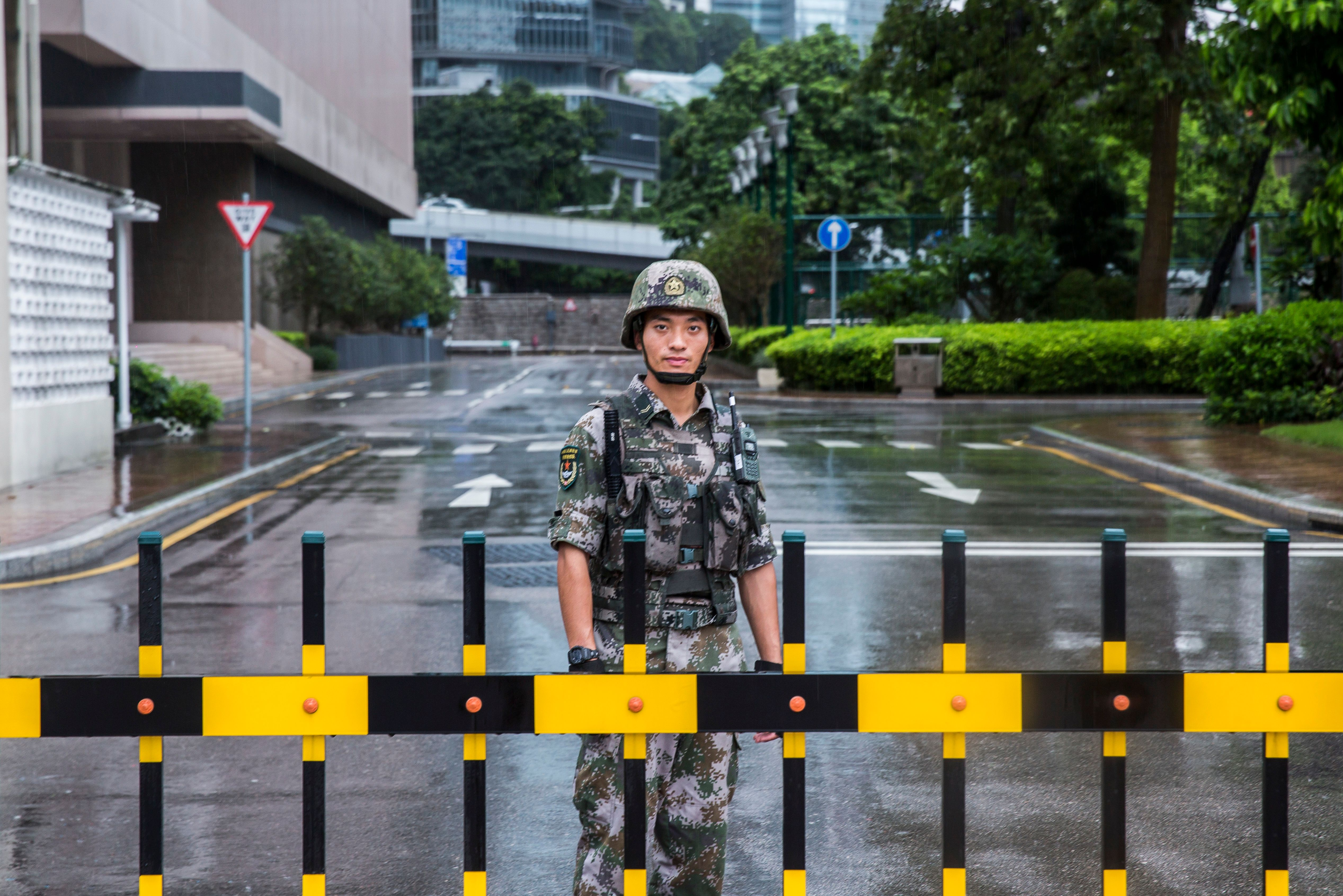 A Chinese People's Liberation Army (PLA) soldier at the Hong Kong Garrison on August 1, 2019.