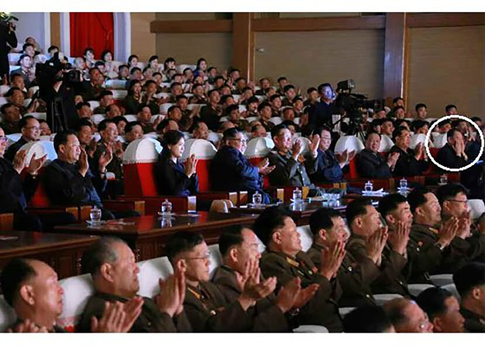 North Korea chief negotiator Kim Yong Chol (circled) appears at an art event, after reports of a purge.