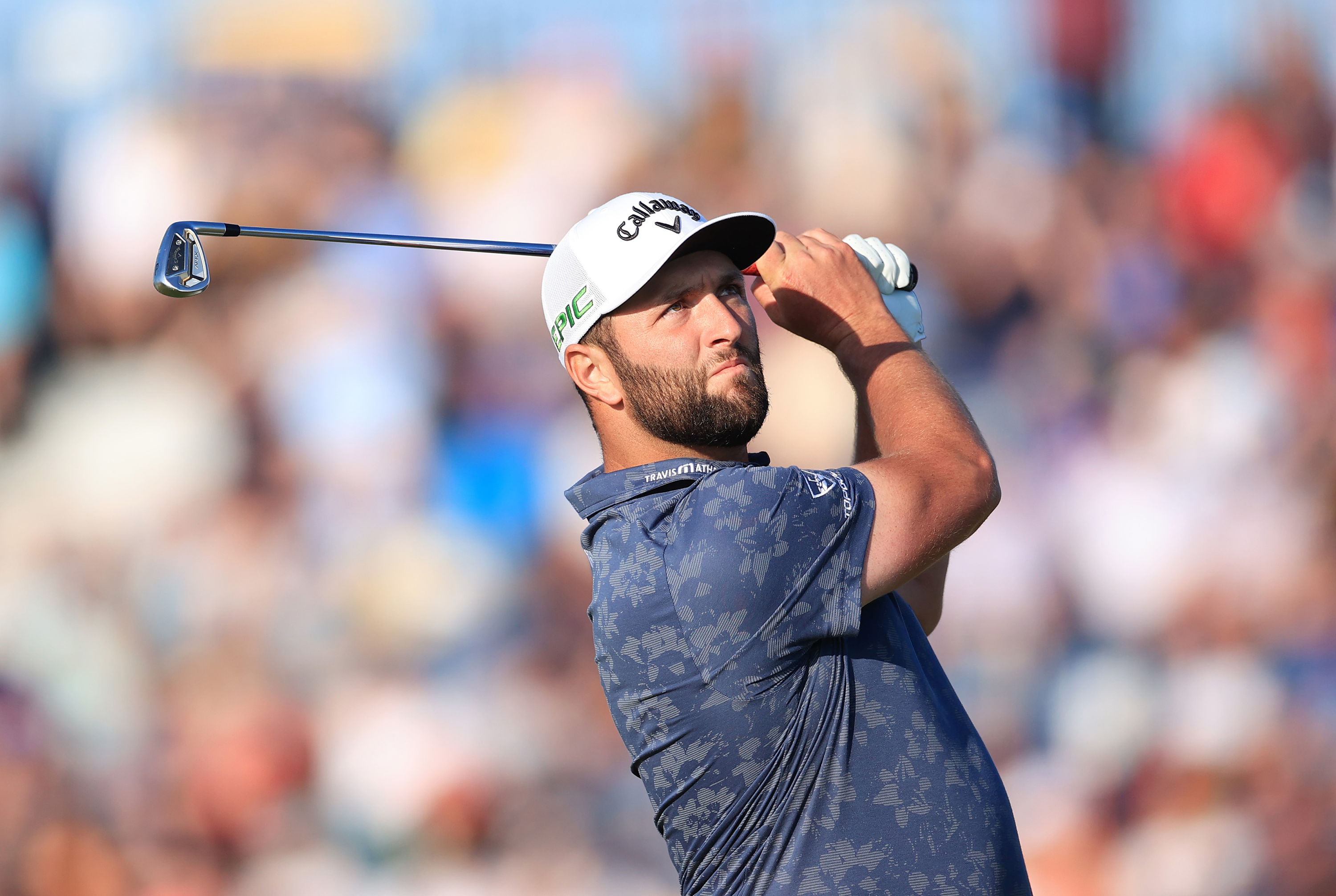 Jon Rahm tees off at the 149th Open at Royal St George's Golf Club on July 16, in Sandwich, England.