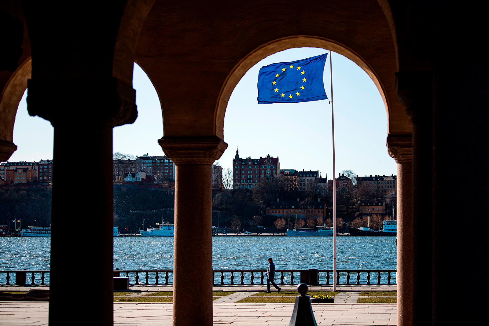 The European Union flag flying on April 2, at Stockholm's city hall.