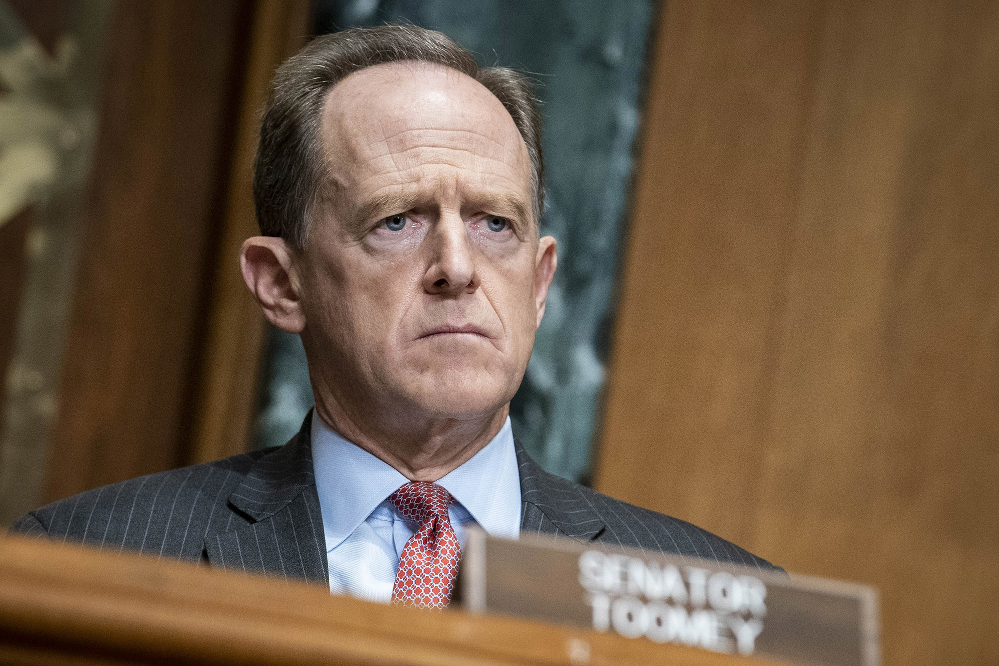 Senator Pat Toomey, a Republican from Pennsylvania, listens during a Congressional Oversight Committee hearing in Washington DC, on Thursday, December 10.