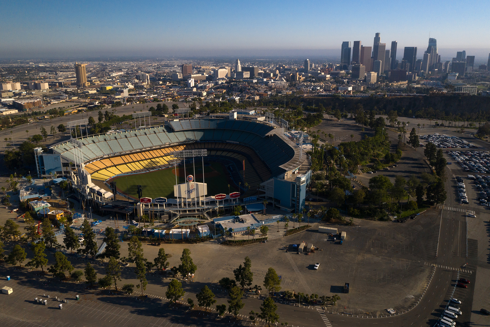 Dodger Stadium stands in this aerial photograph taken over Los Angeles.