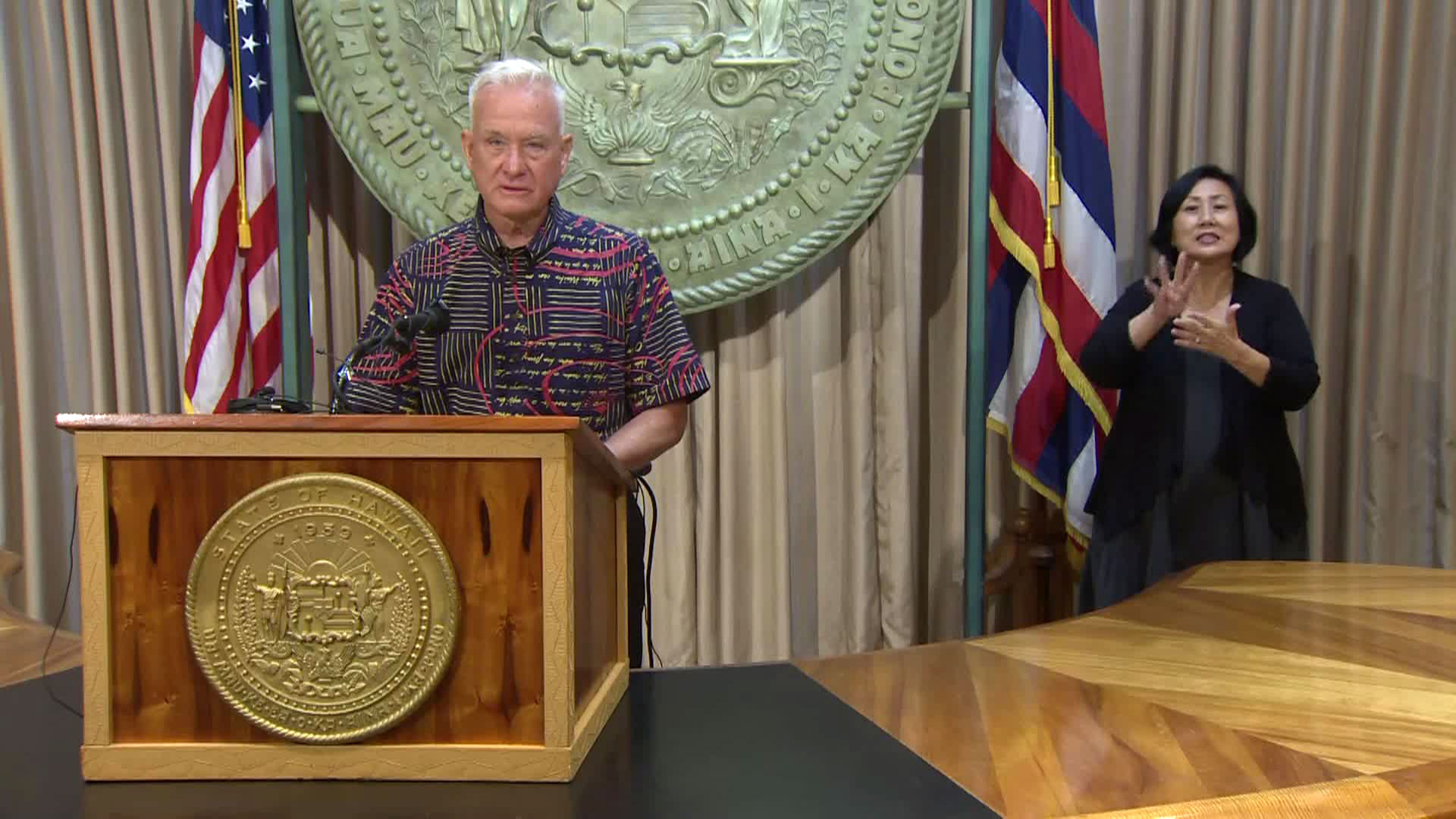 Honolulu Mayor Kirk Caldwell holds a media briefing on Tuesday.