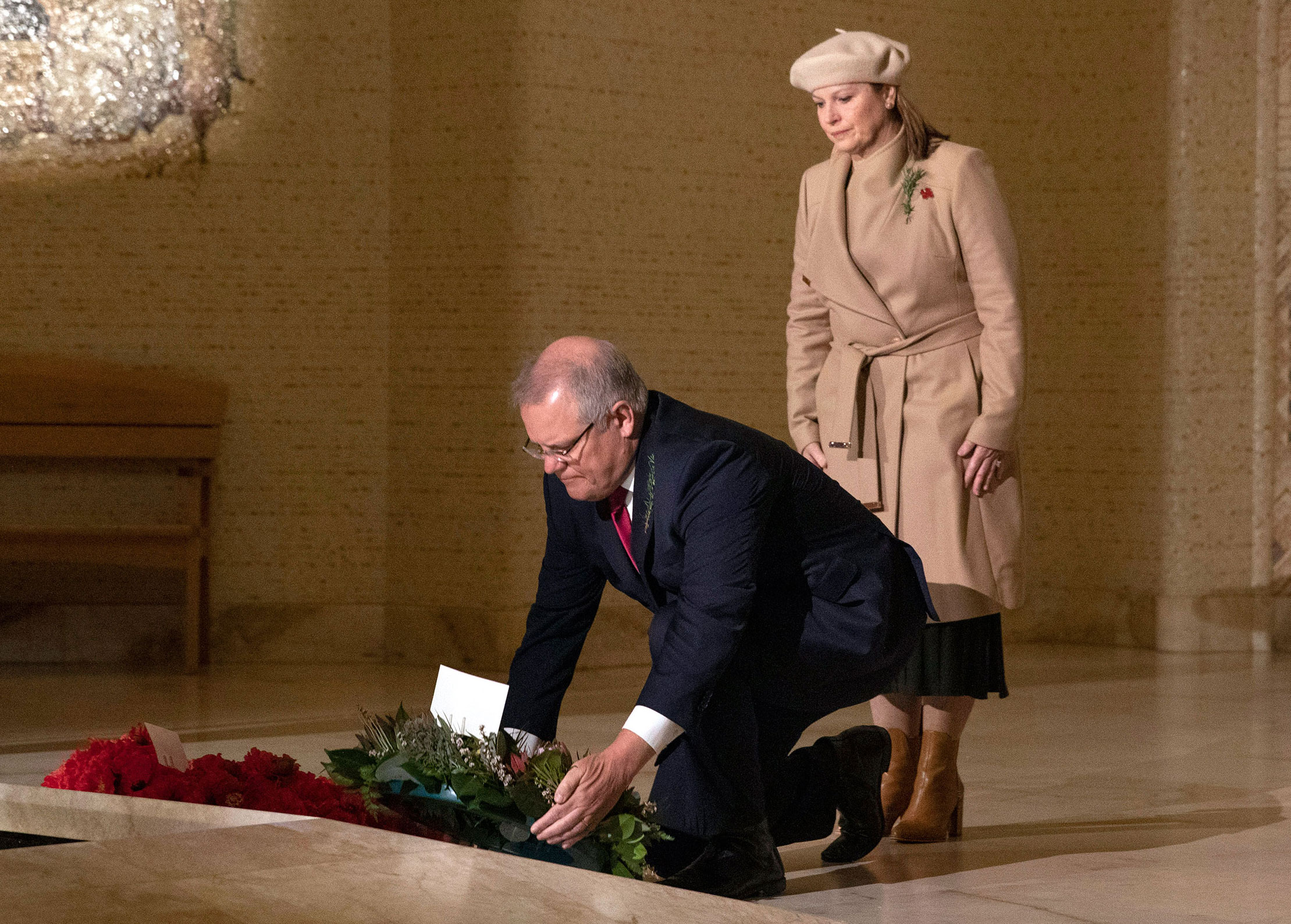 Australian Prime Minister Scott Morrison lays a wreath during an Anzac Day Commemorative Service at the Australian War Memorial in Canberra, Australia on April 25.