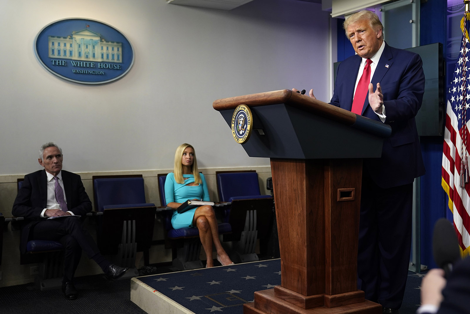 President Donald Trump speaks during a news conference at the White House on Wednesday in Washington.