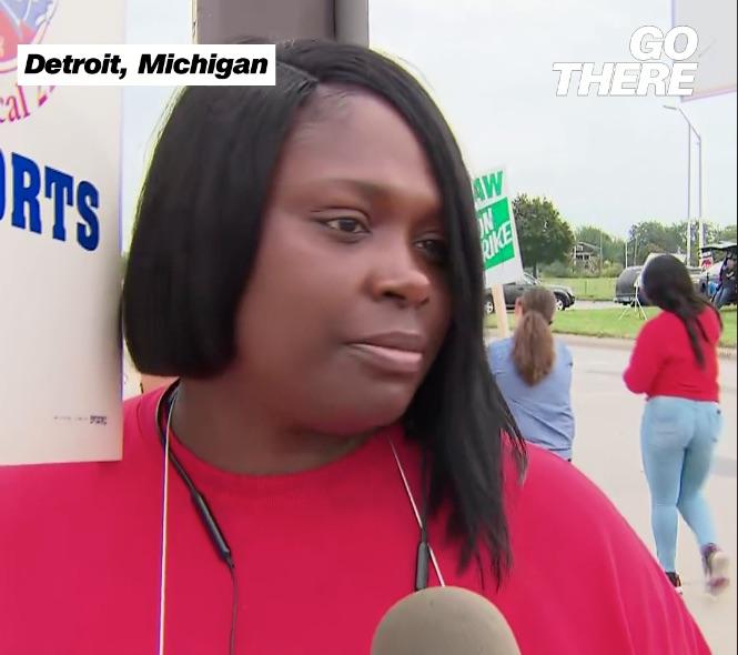 A GM employee on strike speaks with CNN.