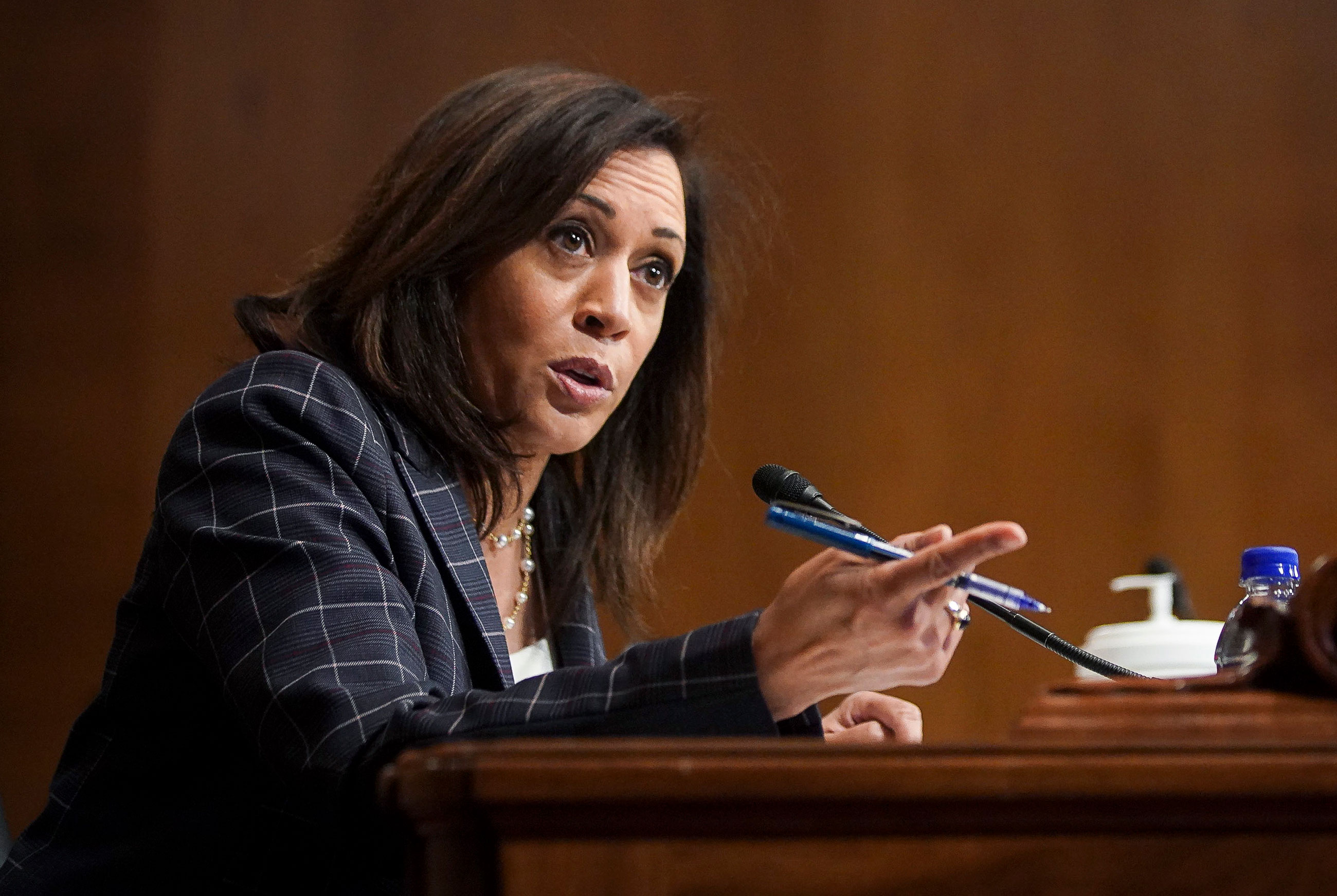 Then-Sen. Kamala Harris speaks at a hearing of the Homeland Security Committee on June 25 in Washington.