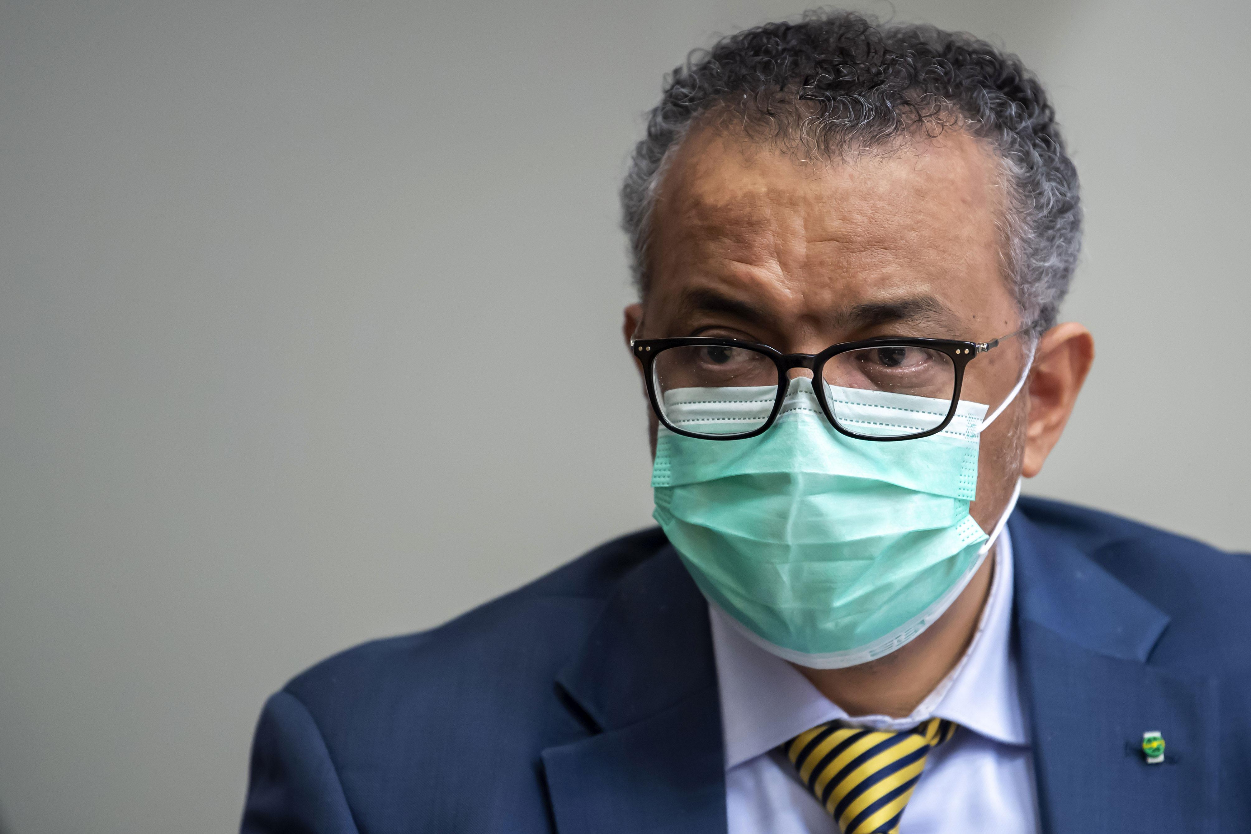 Tedros Adhanom Ghebreyesus, director-general of the World Health Organization, speaks in Geneva, Switzerland, on October 15.